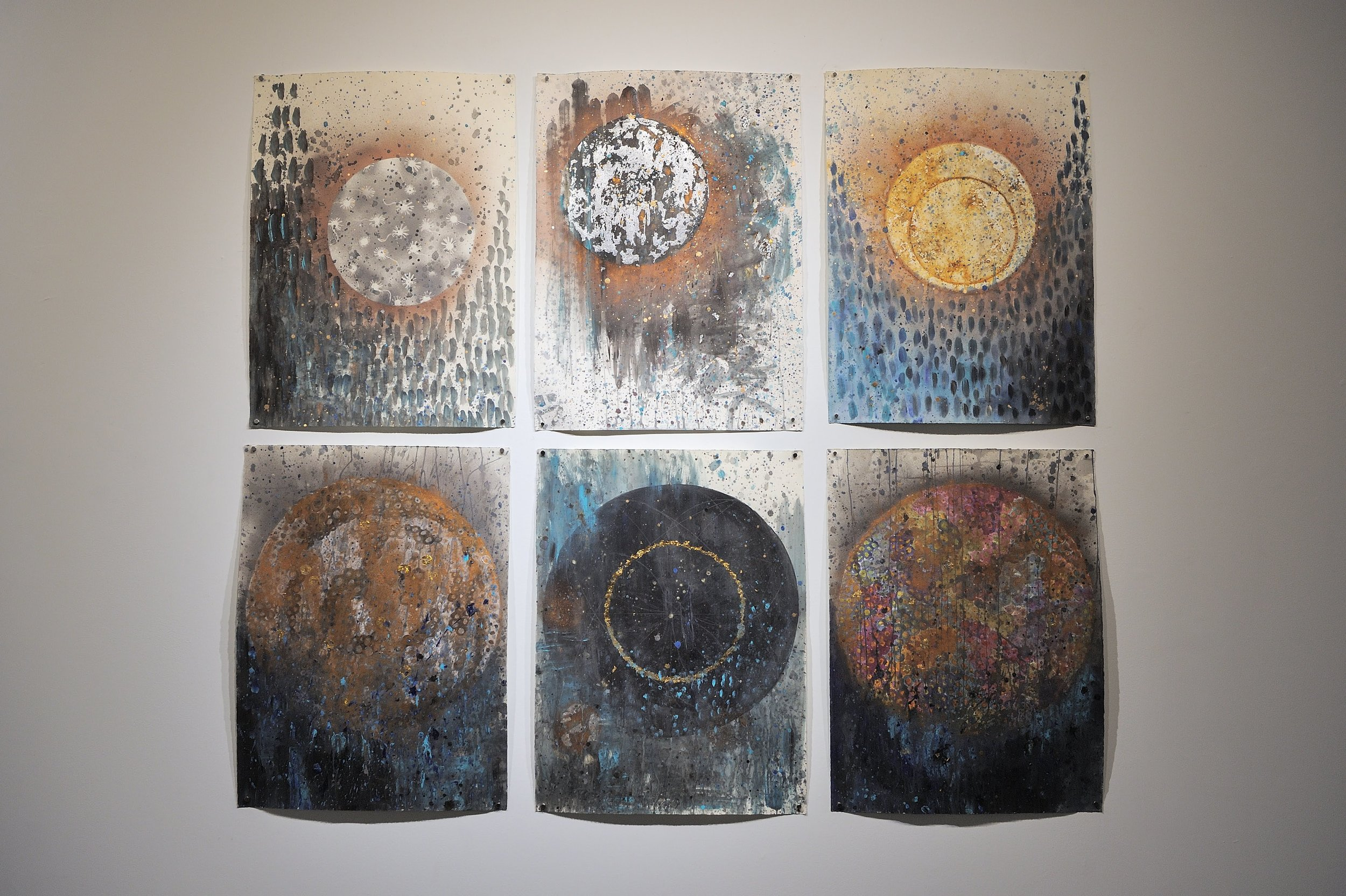 "Lunar Studies in Time    2018  mixed media, acrylic, watercolor, aerosol, gold and silver leaf, metallic pigments  22"" x 39 5/8"""