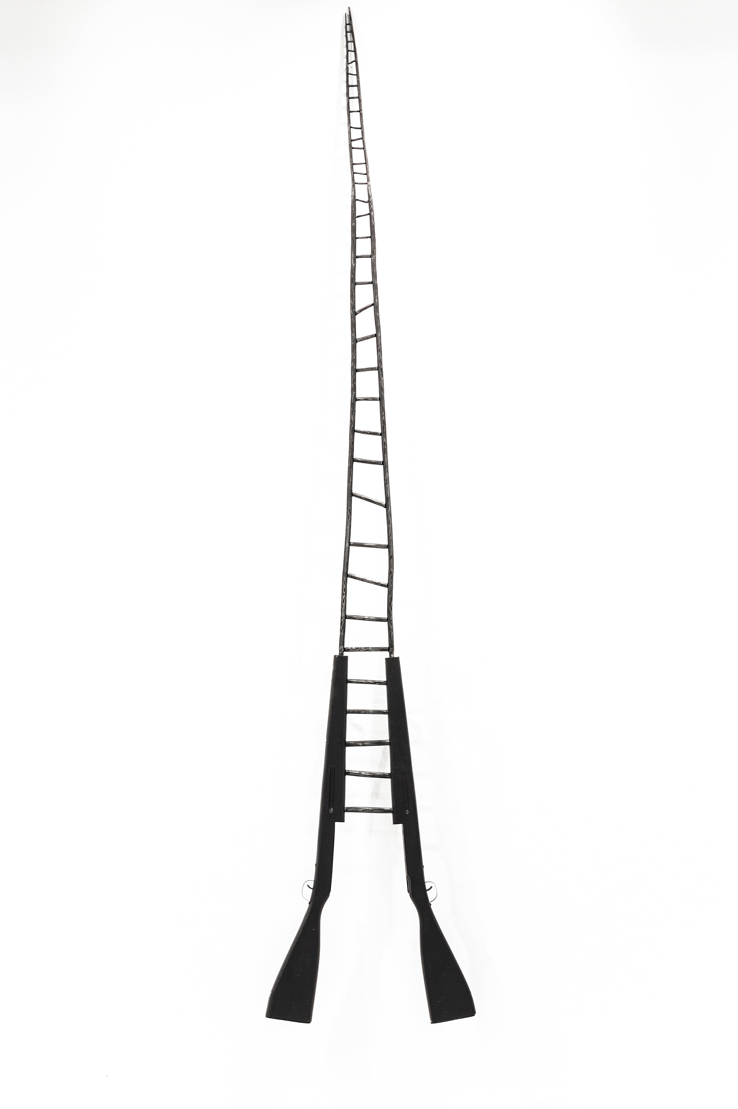 """The Ladder Ascends No Further  , 2019, forged steel, recycled guns, acrylic, 108"""" x 10"""" x 3"""""""