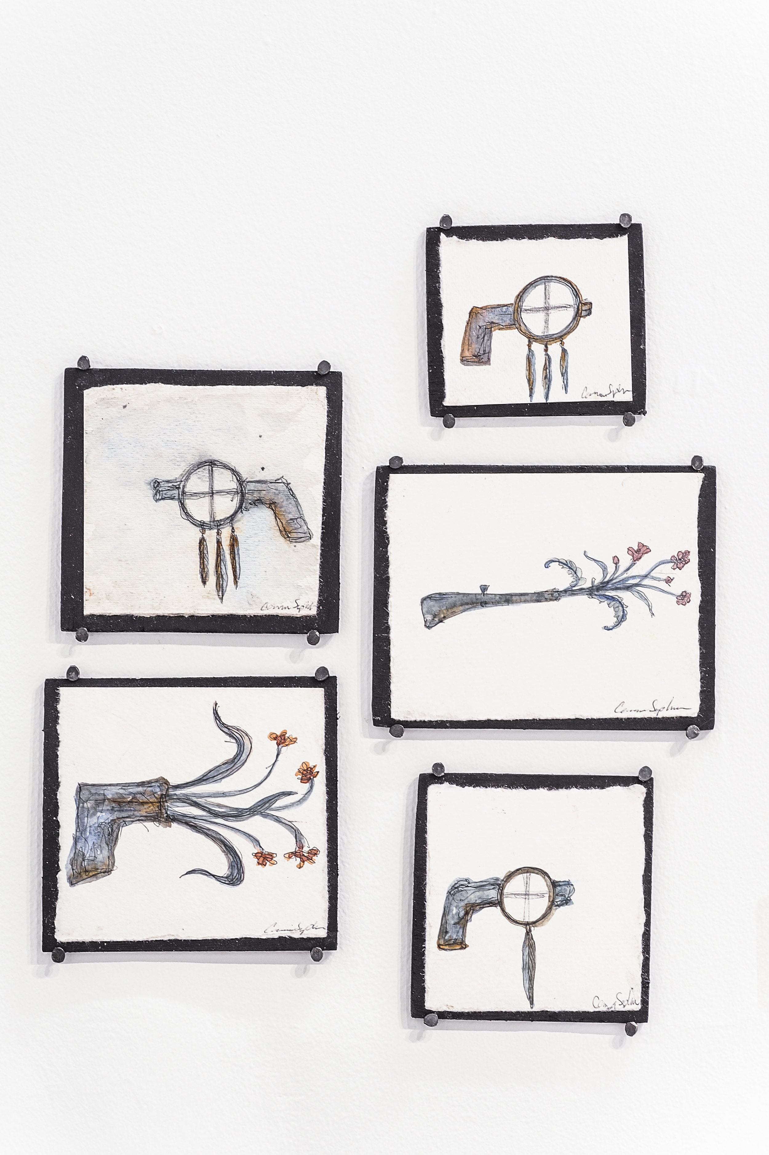 """Tiny Sketches  , (5 pieces), 2018, watercolor, ink, graphite on paper and wood 3.25"""" x 3.75"""" → 4.5"""" x 5.75"""" (dimensions variable)"""
