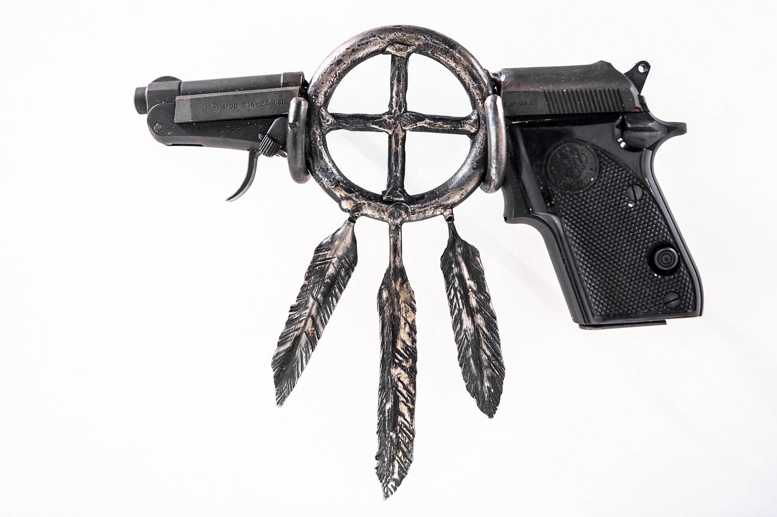 """Native Lands I  , 2019, recycled gun, forged steel, 6.75"""" x 7.75"""" x 1"""""""