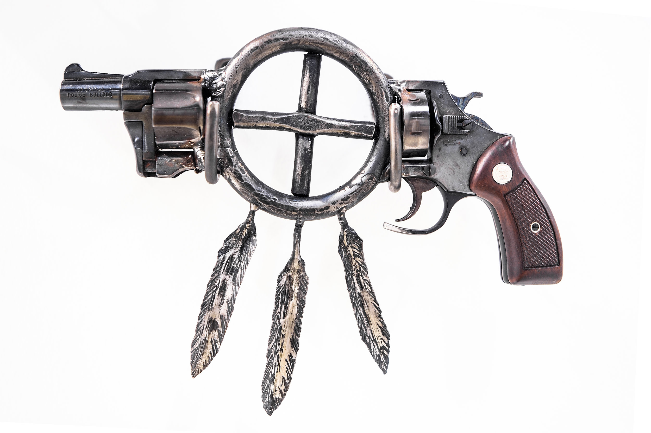 """Native Lands II  , 2019, recycled gun, forged steel, 8"""" x 10.5"""" x 1.5"""""""