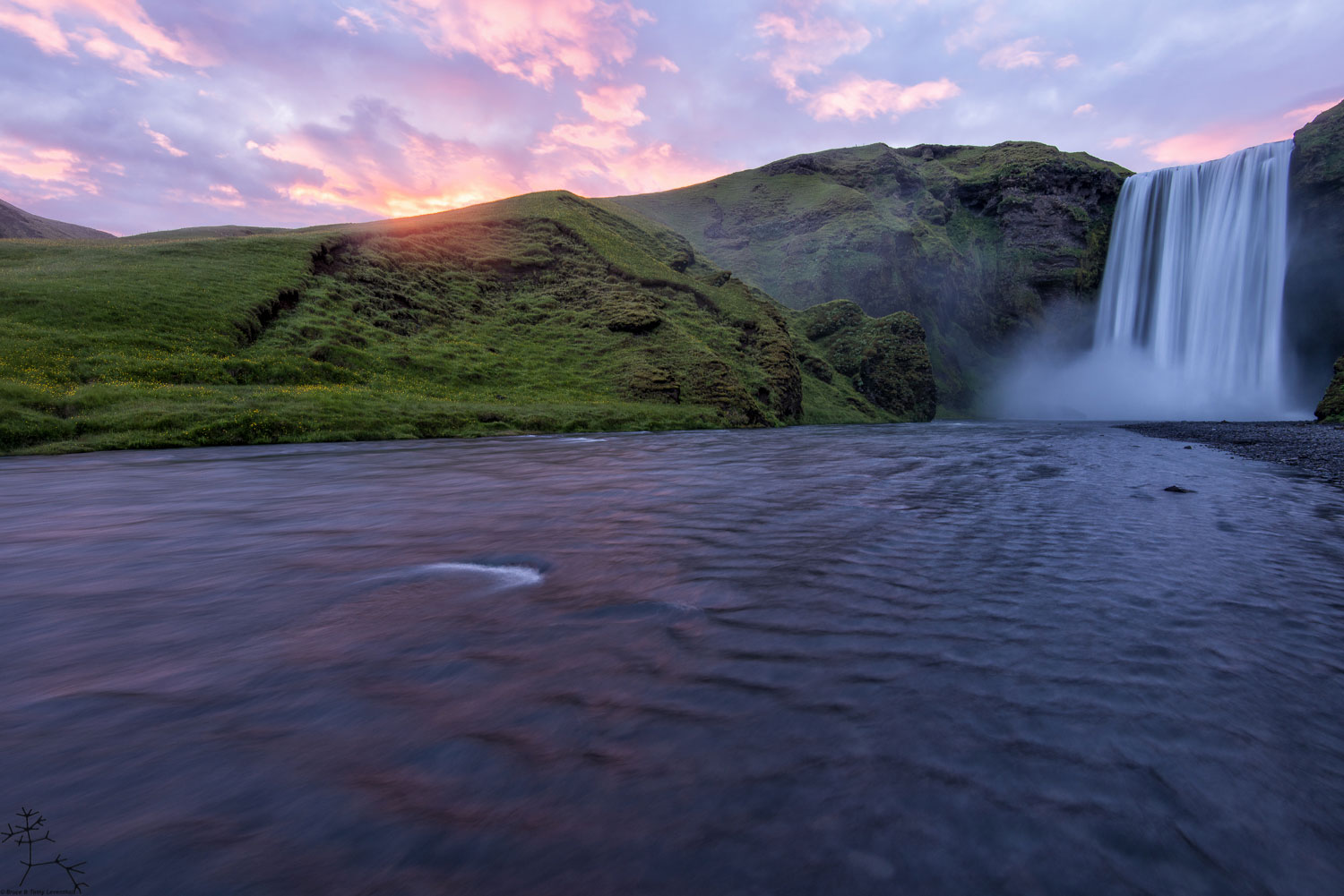 Skogafoss and a Midnight Sunset