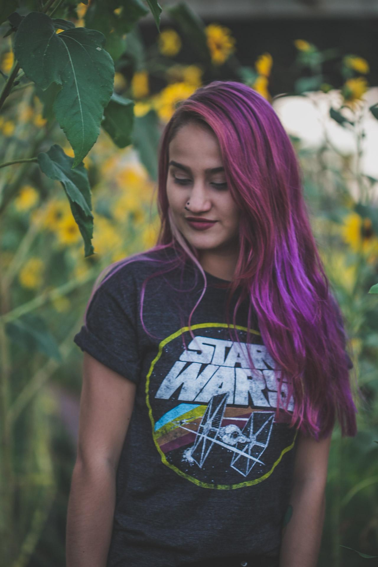 purple hair - star wars - sunflowers - tattoos