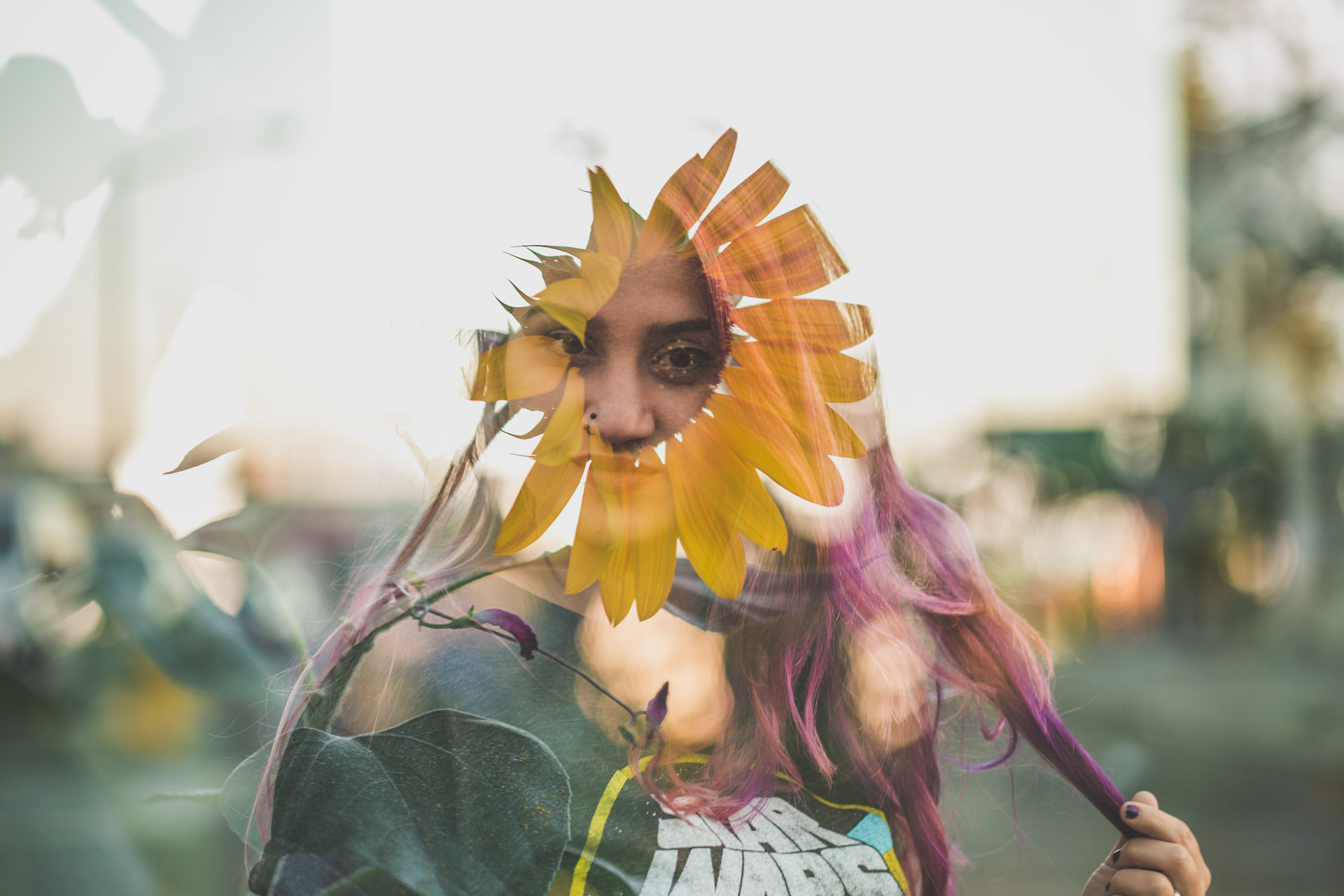 purple hair - star wars - sunflowers - tattoos - double exposure