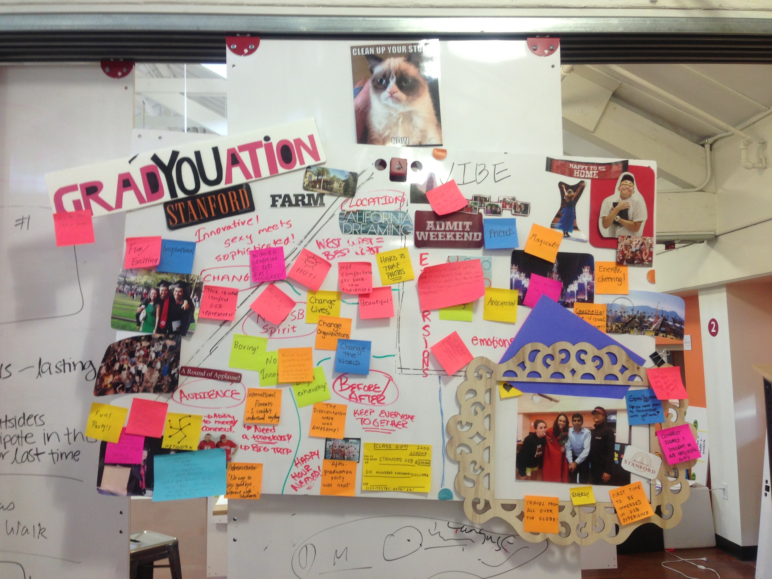 the d.school thrives on information sharing on using physical medium - post its, posters and white boards