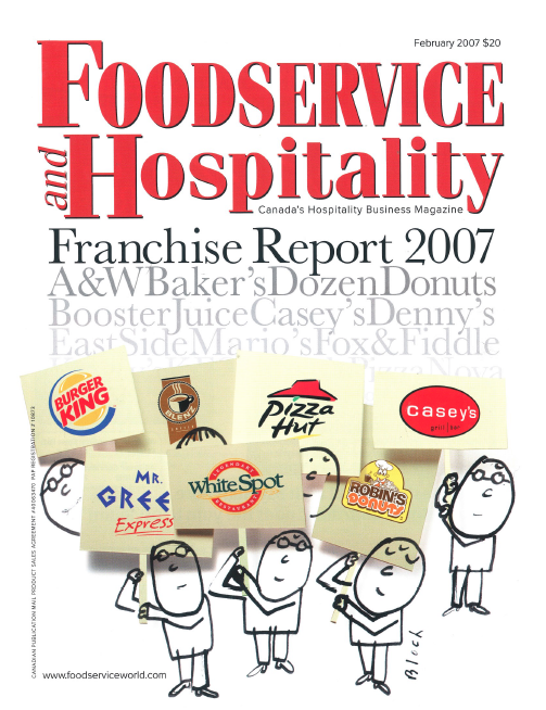 "Foodservice and Hspitality | 2007.02 | Article by Iris Benaroia      ""Carl Cassell's toothsome cuisine can rival the fey, overly trussed compositions found in fancier kitchens: spicy calaloo bisque is love in a bowl, jacked up ackee and al'dente cod sidles up to jasmine rice, while red-wine-dunked jerk pork loin chops team up with sweet corn mashed spuds and hoisin veggies."""
