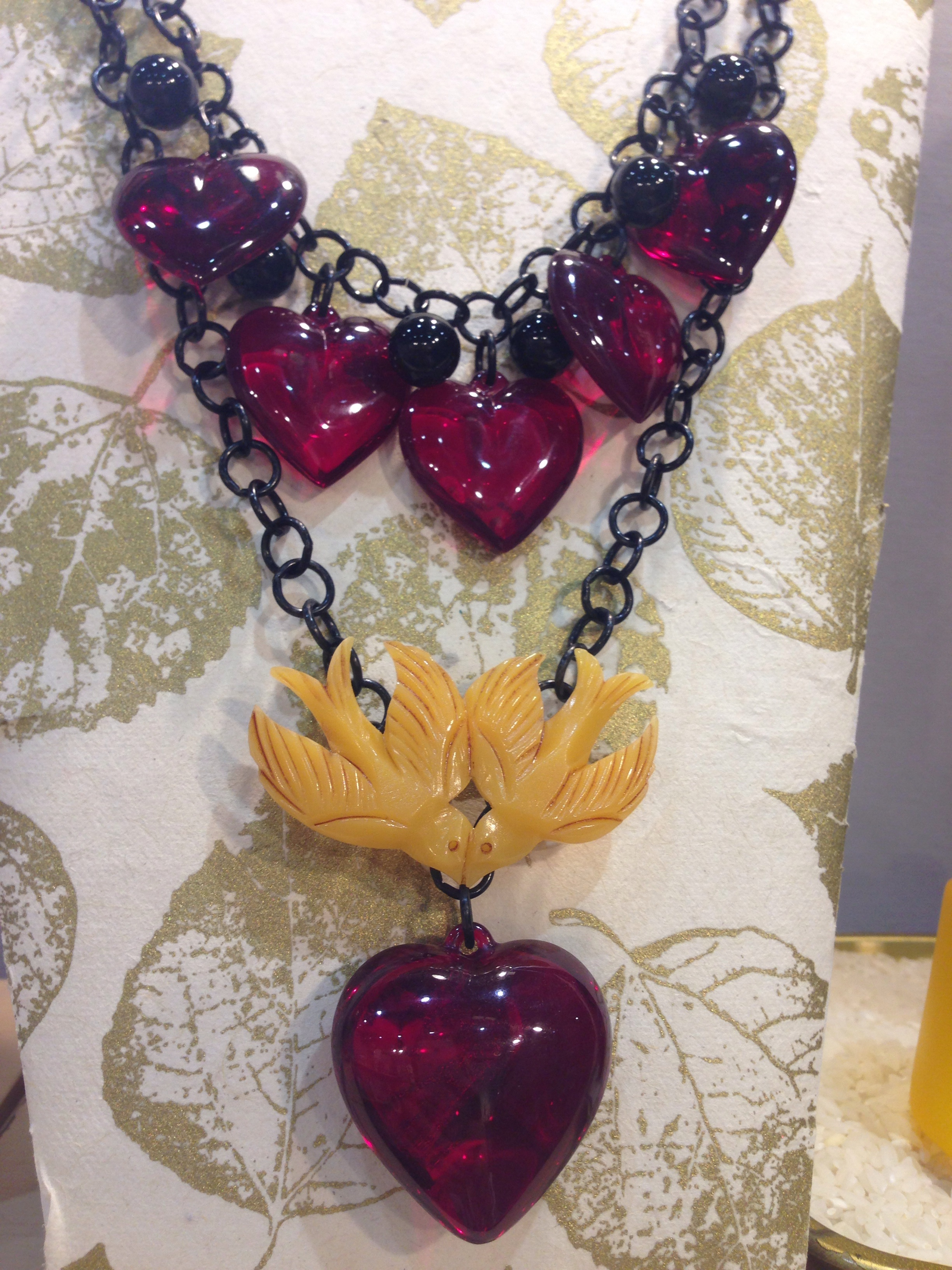 5 scarlet red hearts and onyx baubles. Single scarlet heart with a love bird pin! Kind of flaming heart?!