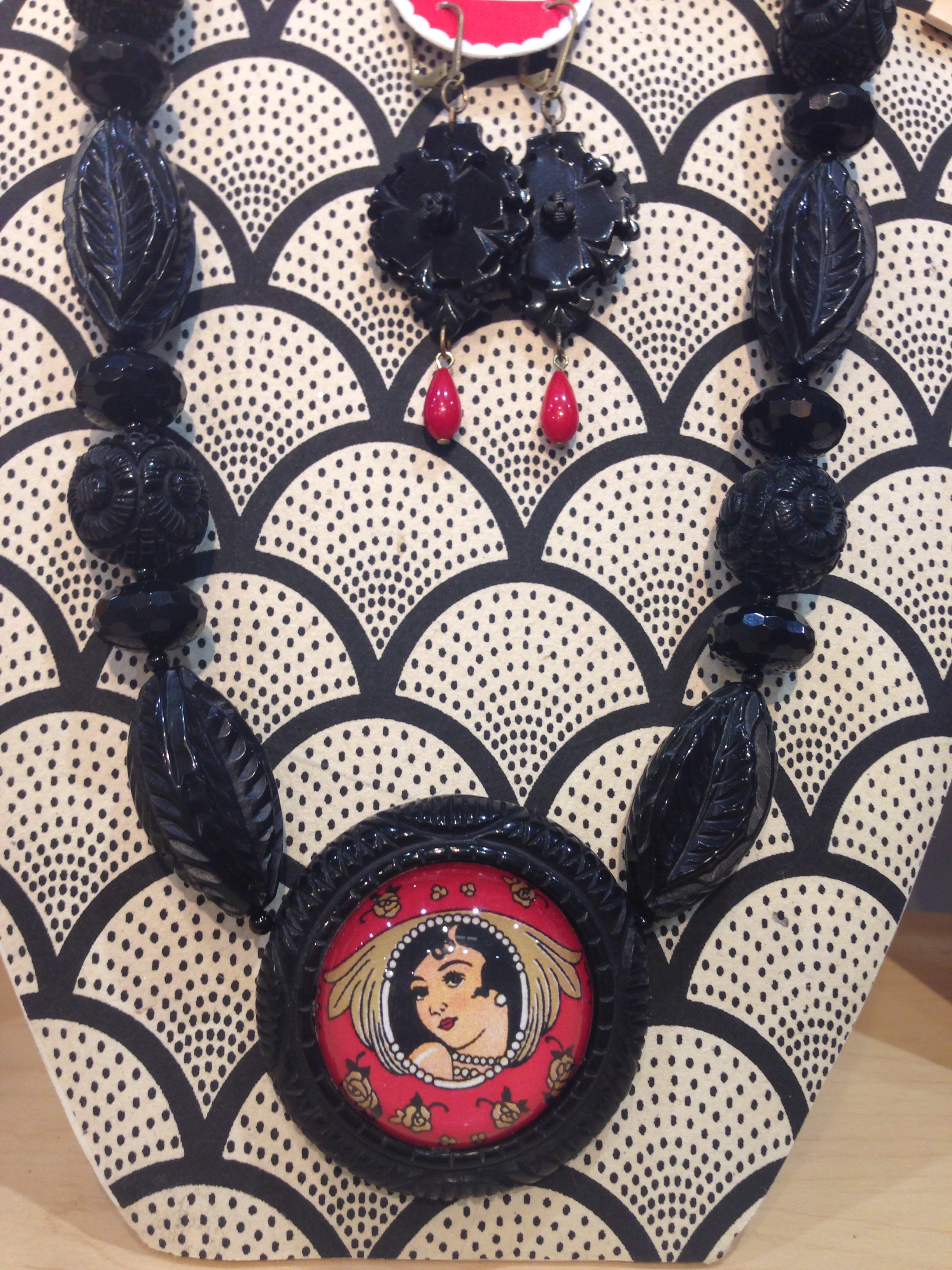 I really love these! Georgia brown vintage lady with victorian blk/red earrings!!!