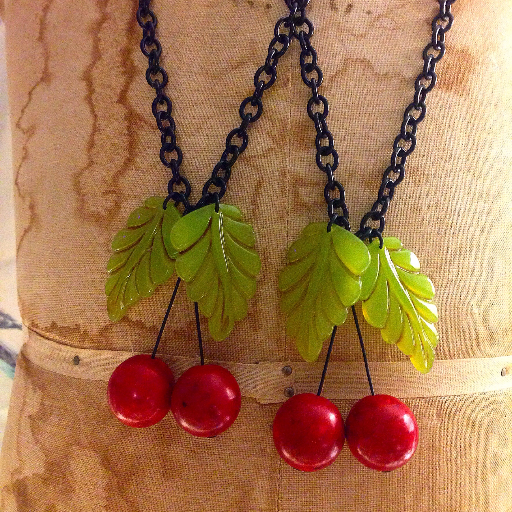 These just turned out great! Problem is sourcing more large red beads for cherries! I make the leaves.  So far I was able to make 8!
