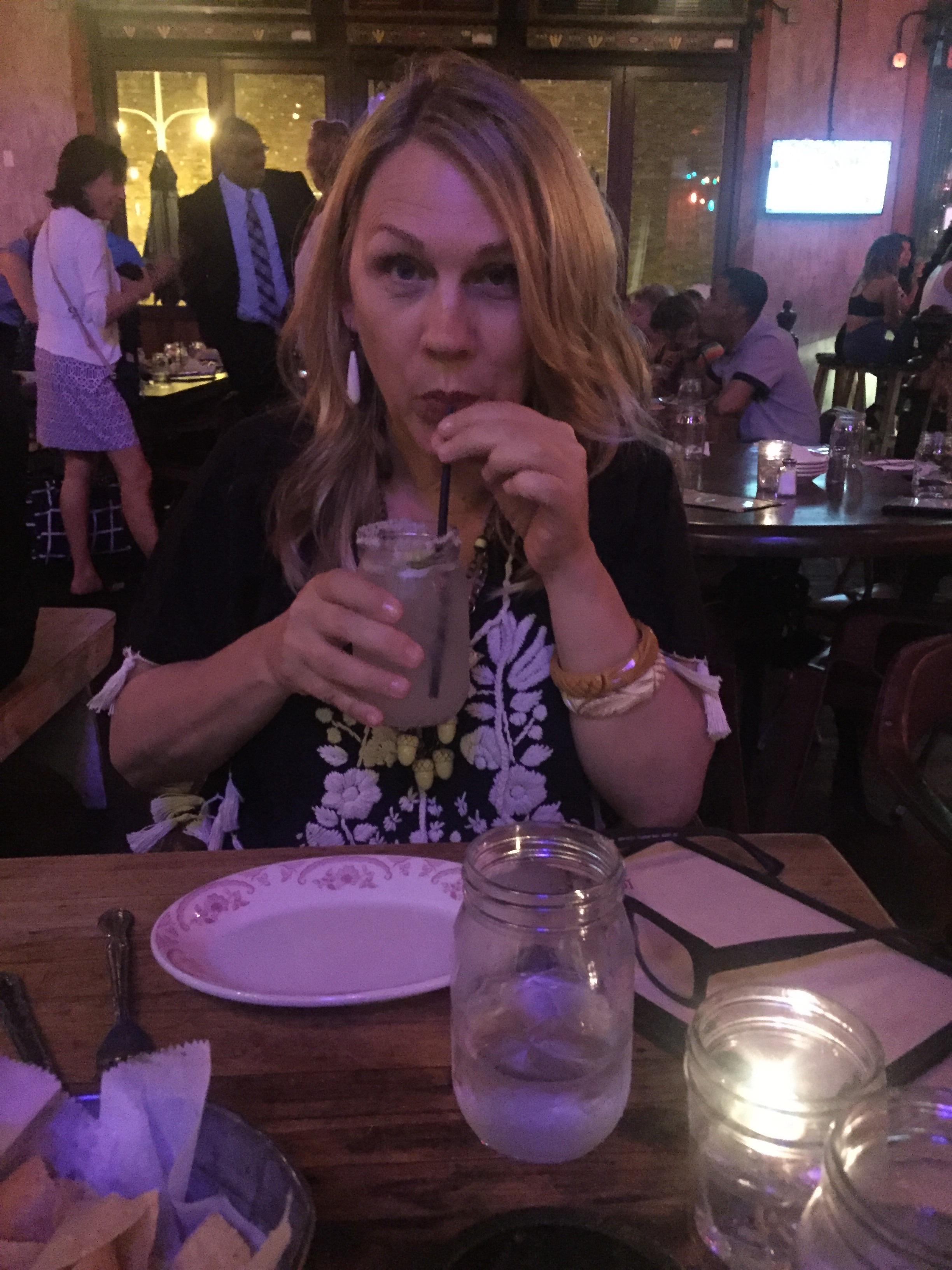 Here's me with a margarita at La Comida. Reservations required. Highly recommend!