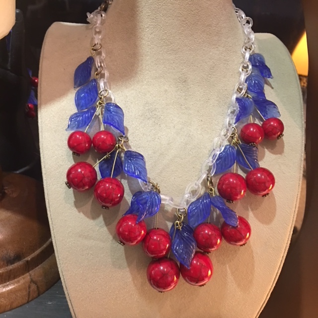PETALUMA SHOW IS AMERICANA!  RED, WHITE AND BLUE (AND FANTASTIC!) I SAY IT IS ALSO VERY FRENCH!  THIS COULD BE THE PERFECT NECKLACE FOR BASTILLE DAY PARTY! EMAIL ME FOR ANY QUESTIONS ABOUT THE SHOWS OR REQUESTS ON WHAT TO BRING!  I'LL GLADLY BRING SOMETHING YOU WANT TO TAKE A CLOSER LOOK AT OR PUT SOMETHING ASIDE FOR YOU!  UNTIL THEN, I'M IN MY SHOP AND STUDIO, AND A COUPLE OF NIGHTS AT THE RESTAURANT!