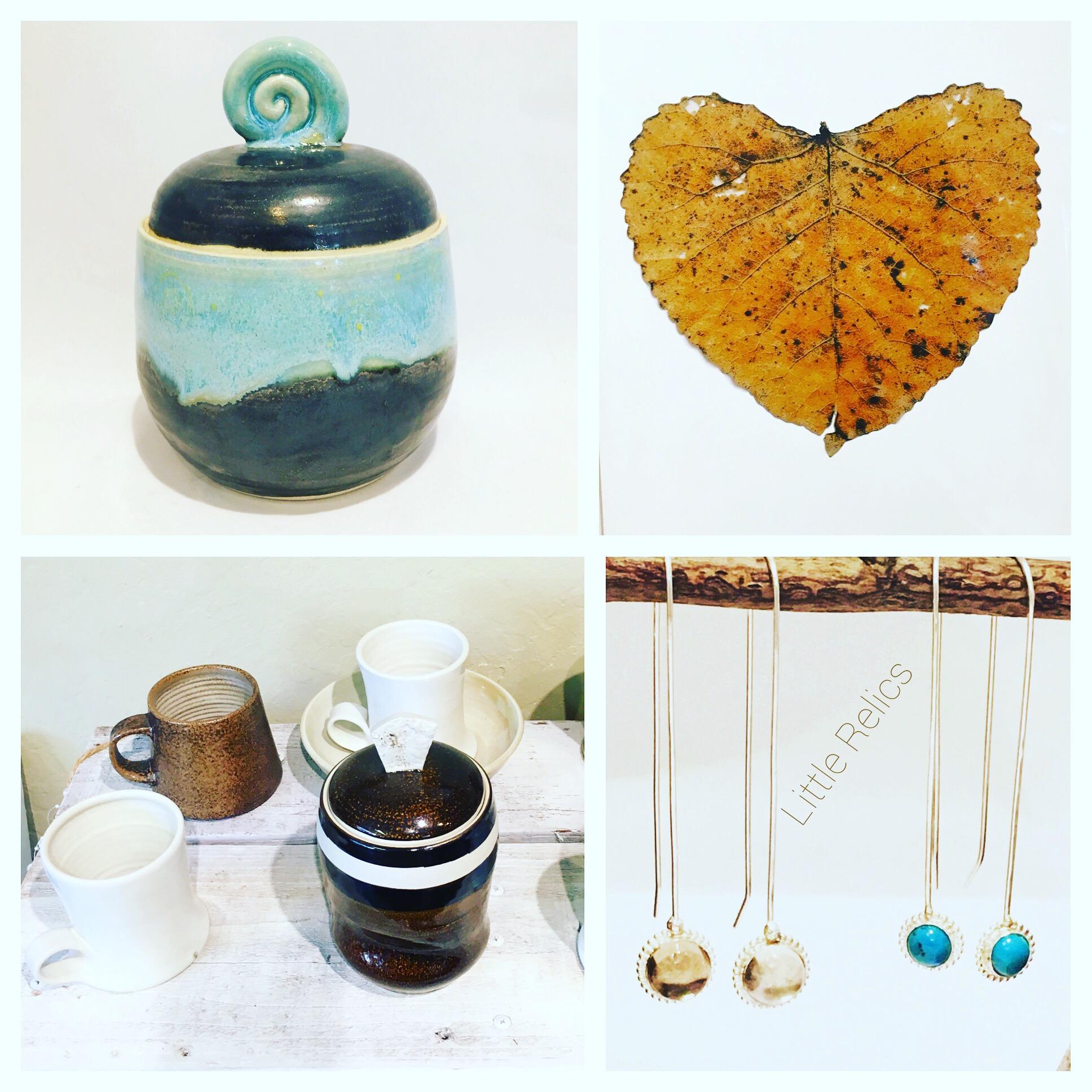 Ceramic Vessels by Elizabeth Wocasek, Mugs by Kyle Lawson & Prints by local Photgraphers