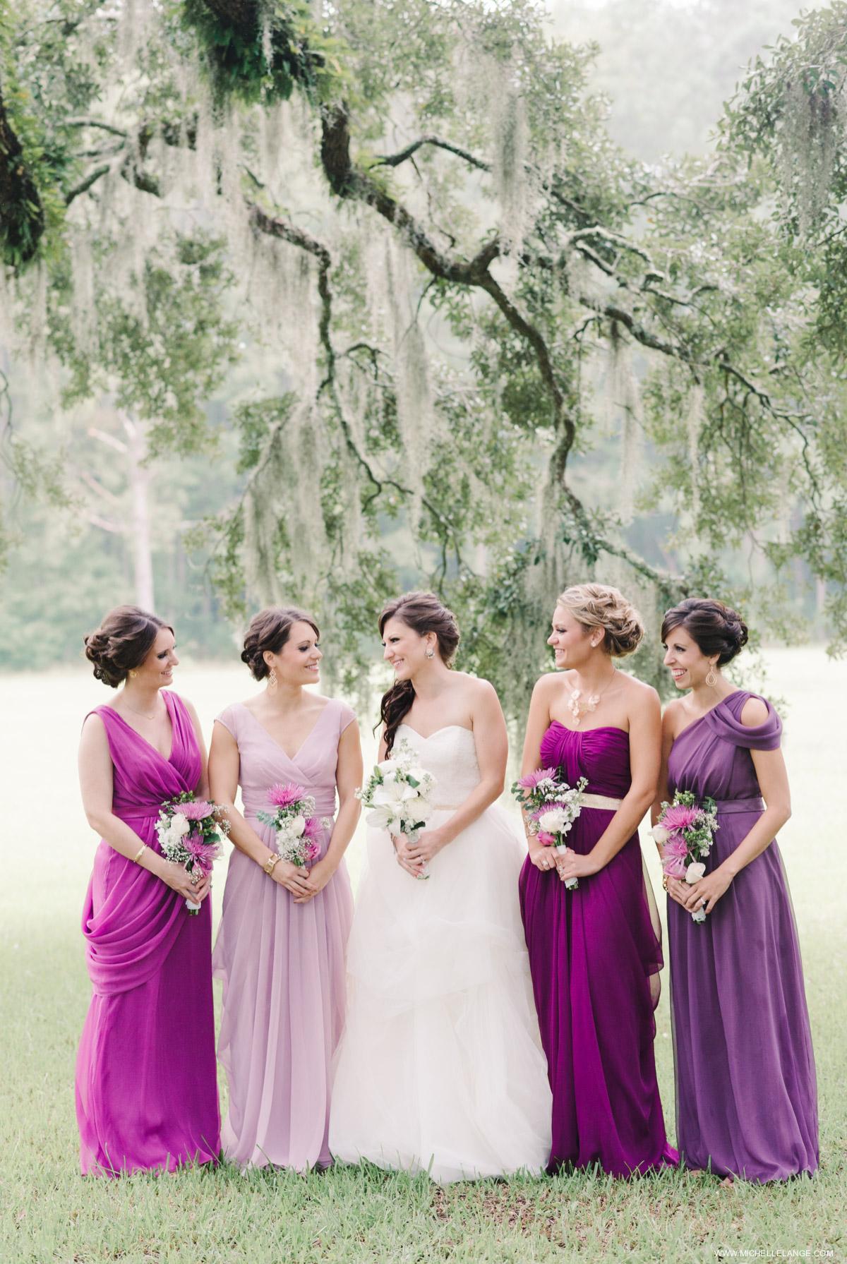 Purple Bridesmaids Charleston Runnymede Plantation Wedding