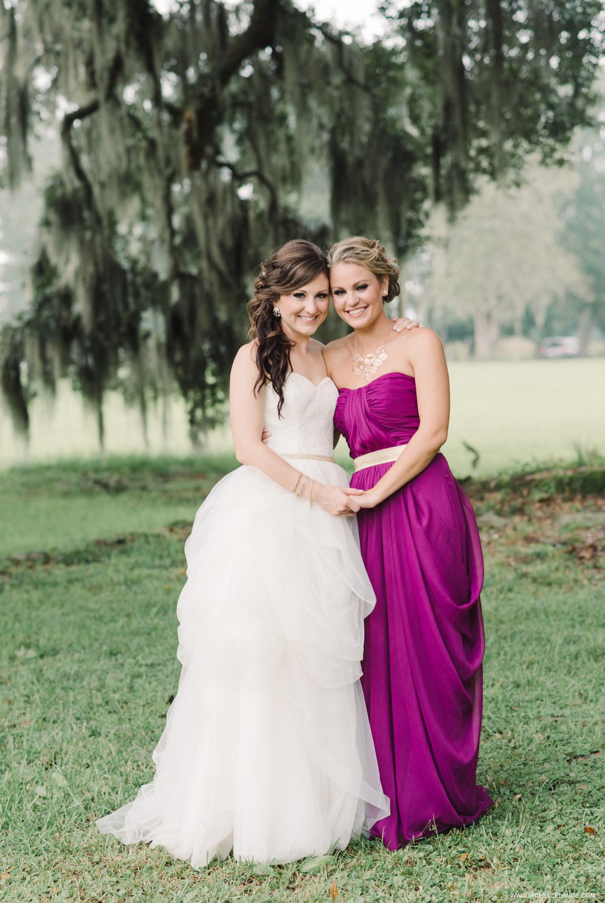 Maid of Honor and Bride Charleston Runnymede Plantation Wedding