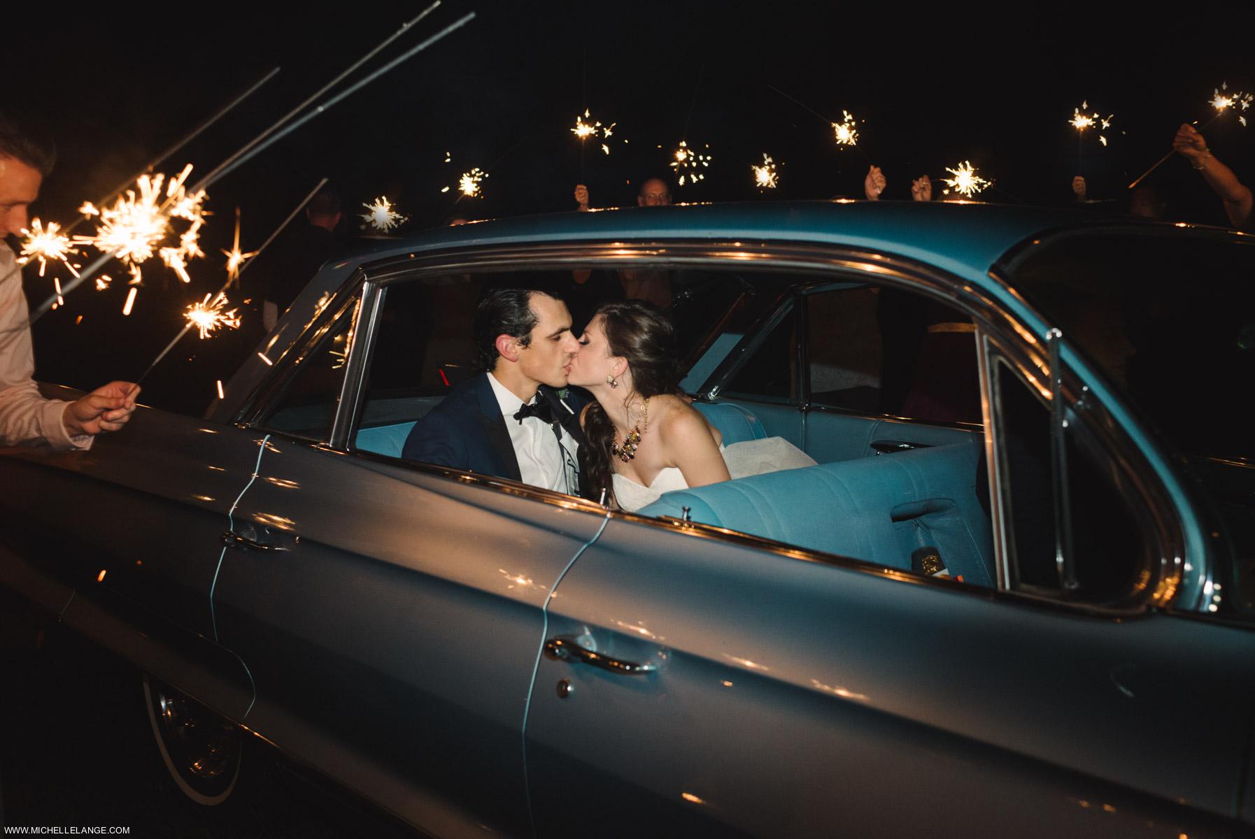 Vintage Car Sparklers Charleston Runnymede Plantation Wedding