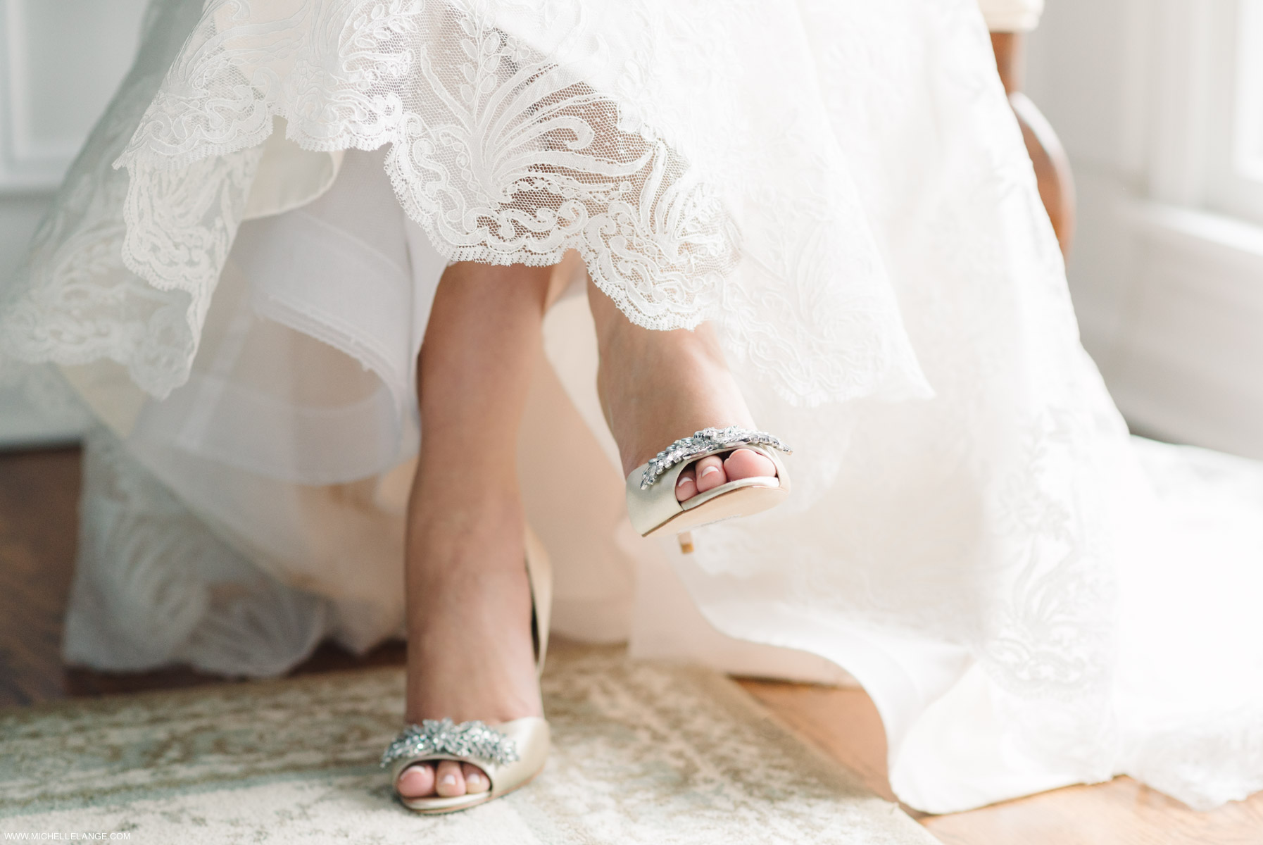 Badgley Mischka Shoes Riverhouse at Rumson Country Club Wedding