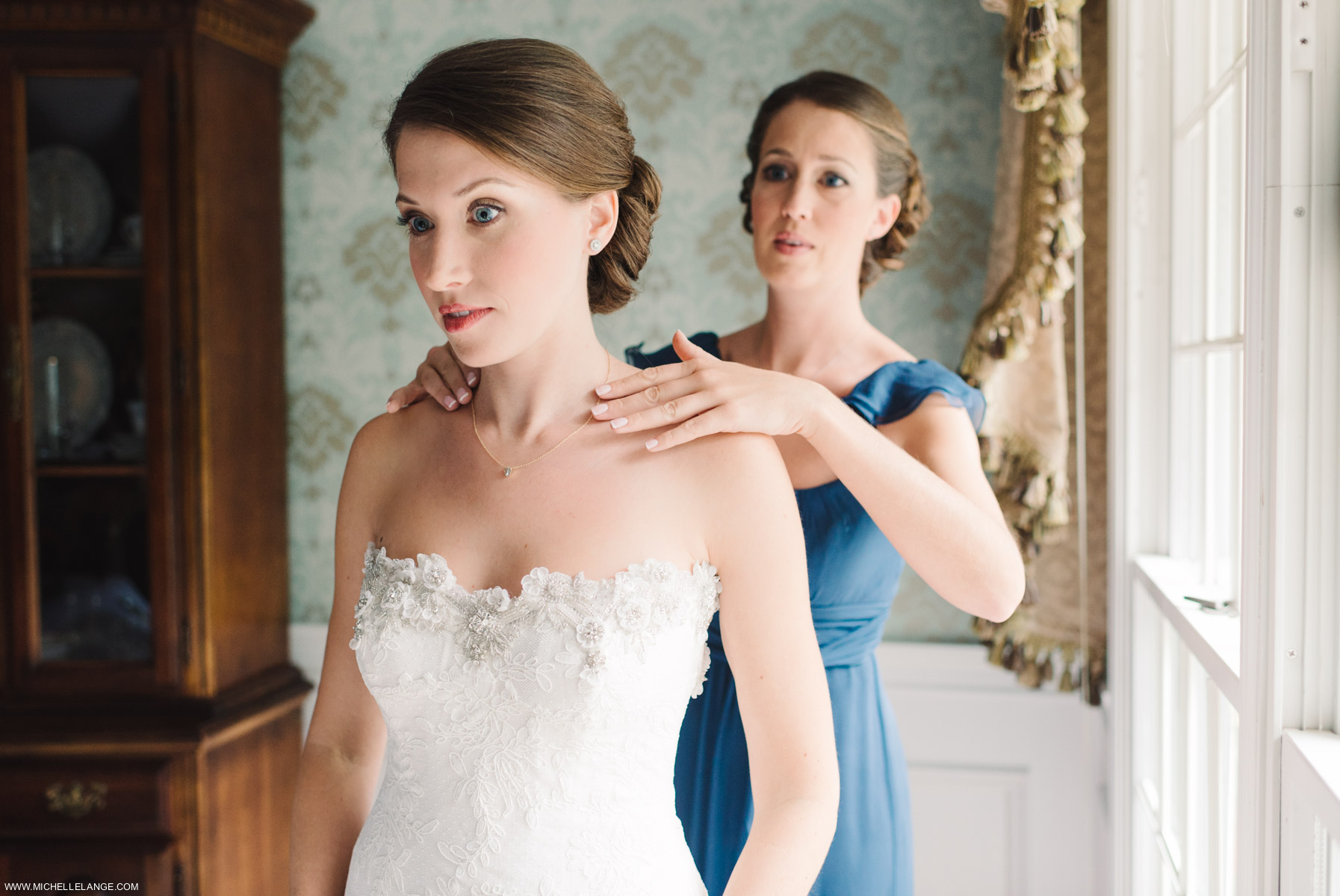 Bride Getting Ready Riverhouse at Rumson Country Club Wedding