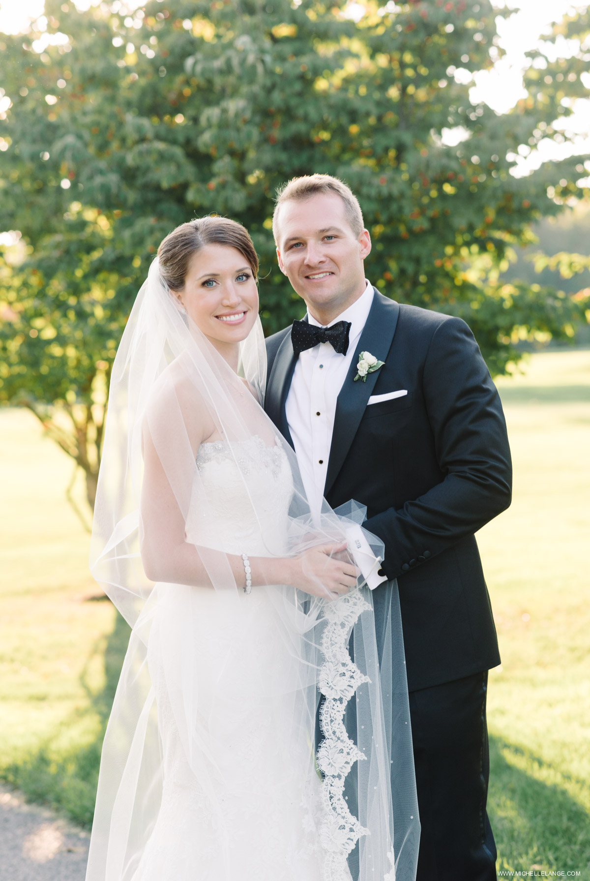 Bride with Lace Veil Riverhouse at Rumson Country Club Wedding