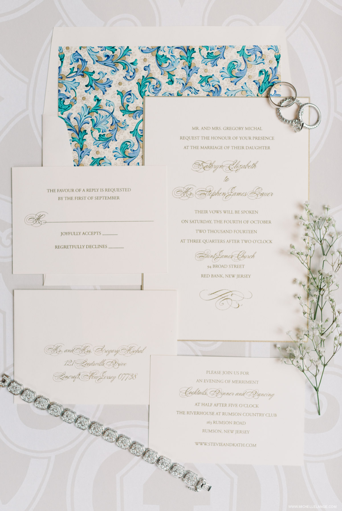Elegant Invitation Suite Riverhouse at Rumson Country Club Wedding