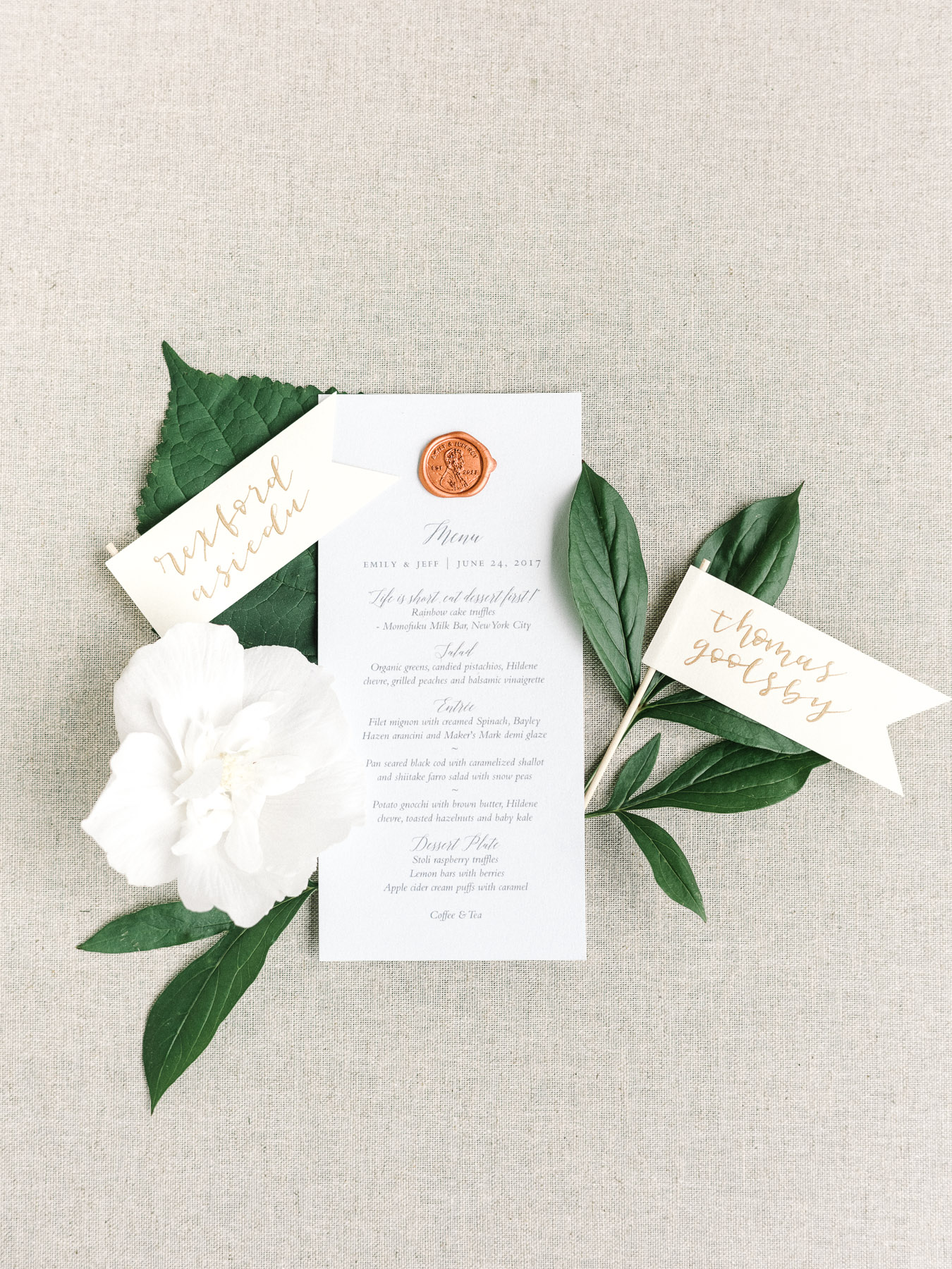 Manchester Vermont Wedding Tie That Binds Menu with Penny