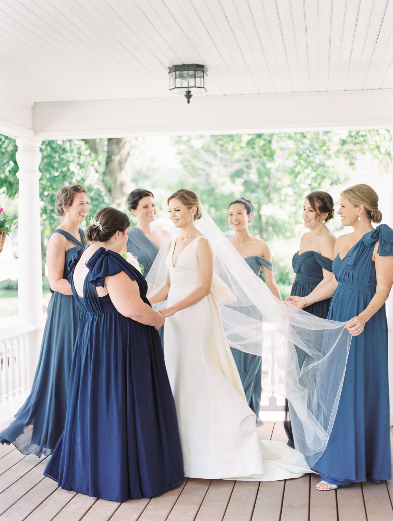 Manchester Vermont Wedding Bridesmaids Shades of Blue Dresses