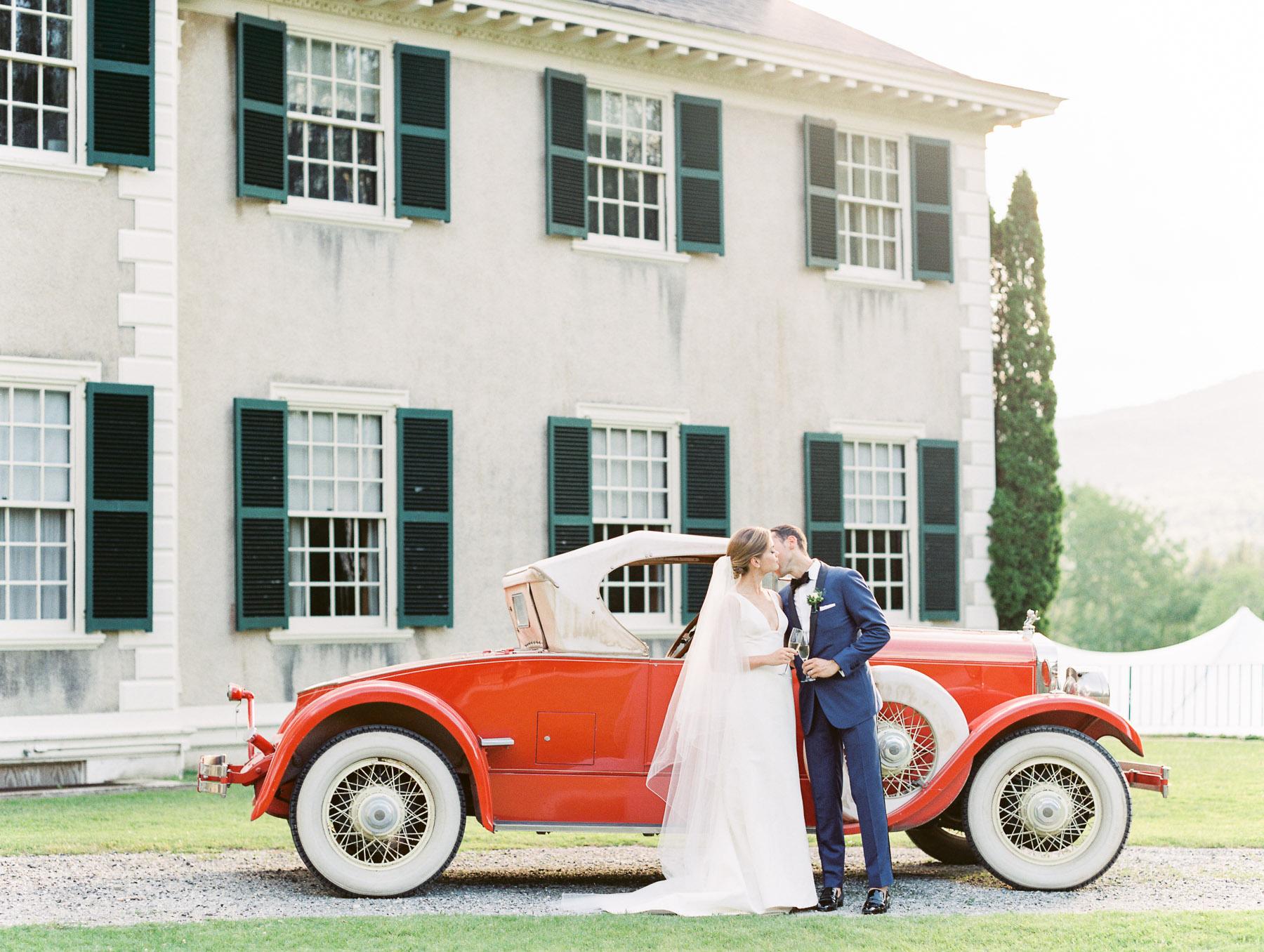 Manchester Vermont Wedding Vintage Red Car at Hildene Estate