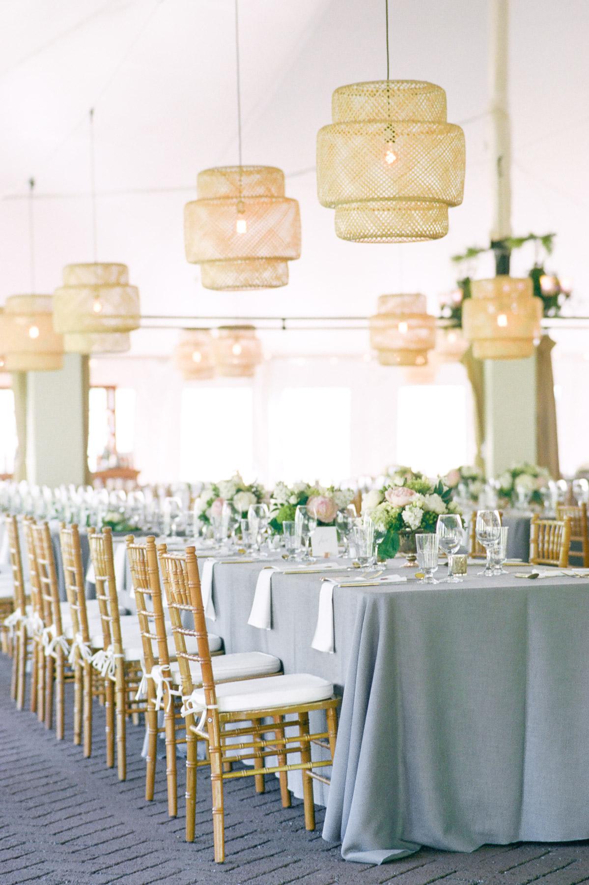 Manchester Vermont Wedding Hildene Estate Reception Tent Details with Ikea Lantern Lights
