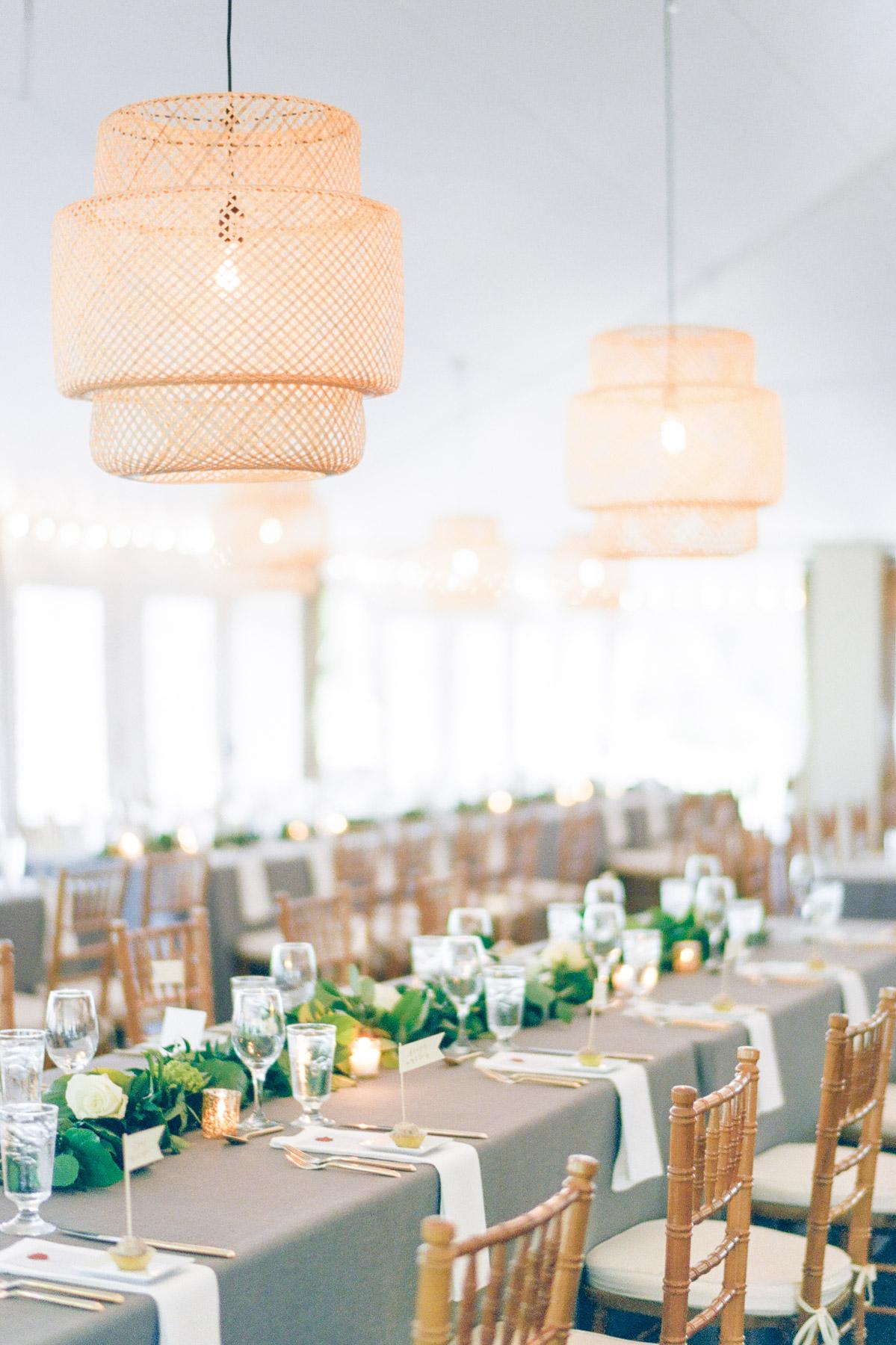 Manchester Vermont Wedding Hildene Estate Reception Tent Details with Ikea Lights