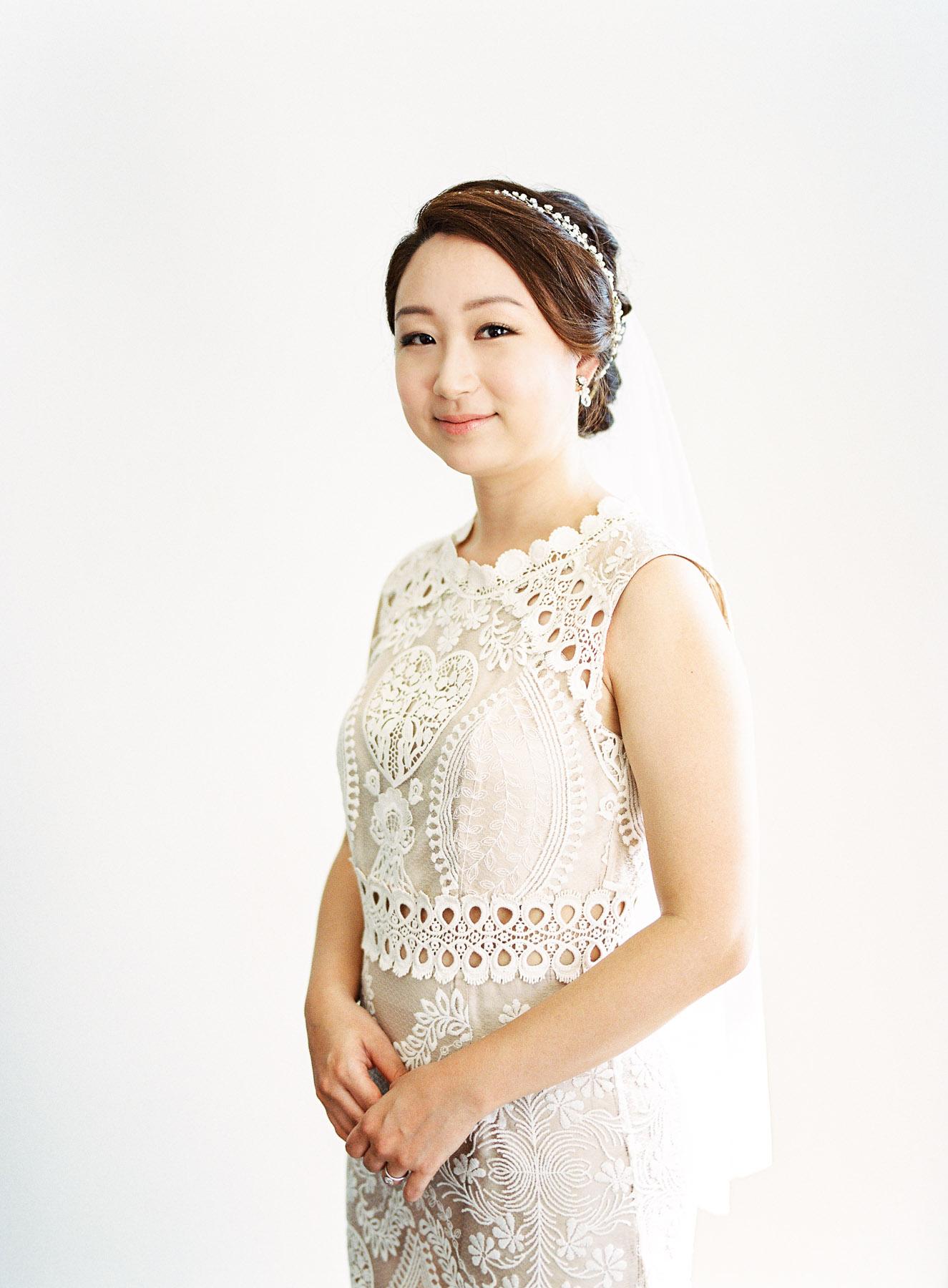 Bride Wearing BHLDN Wedding Gown