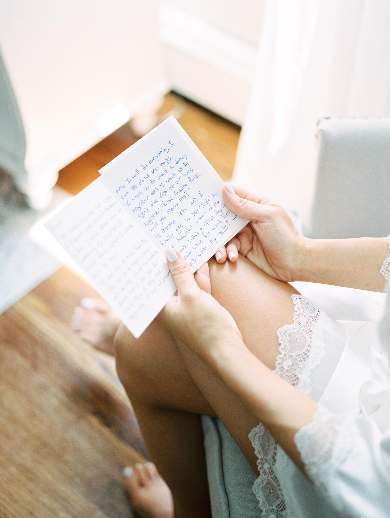 Bride Reading Letter Photo