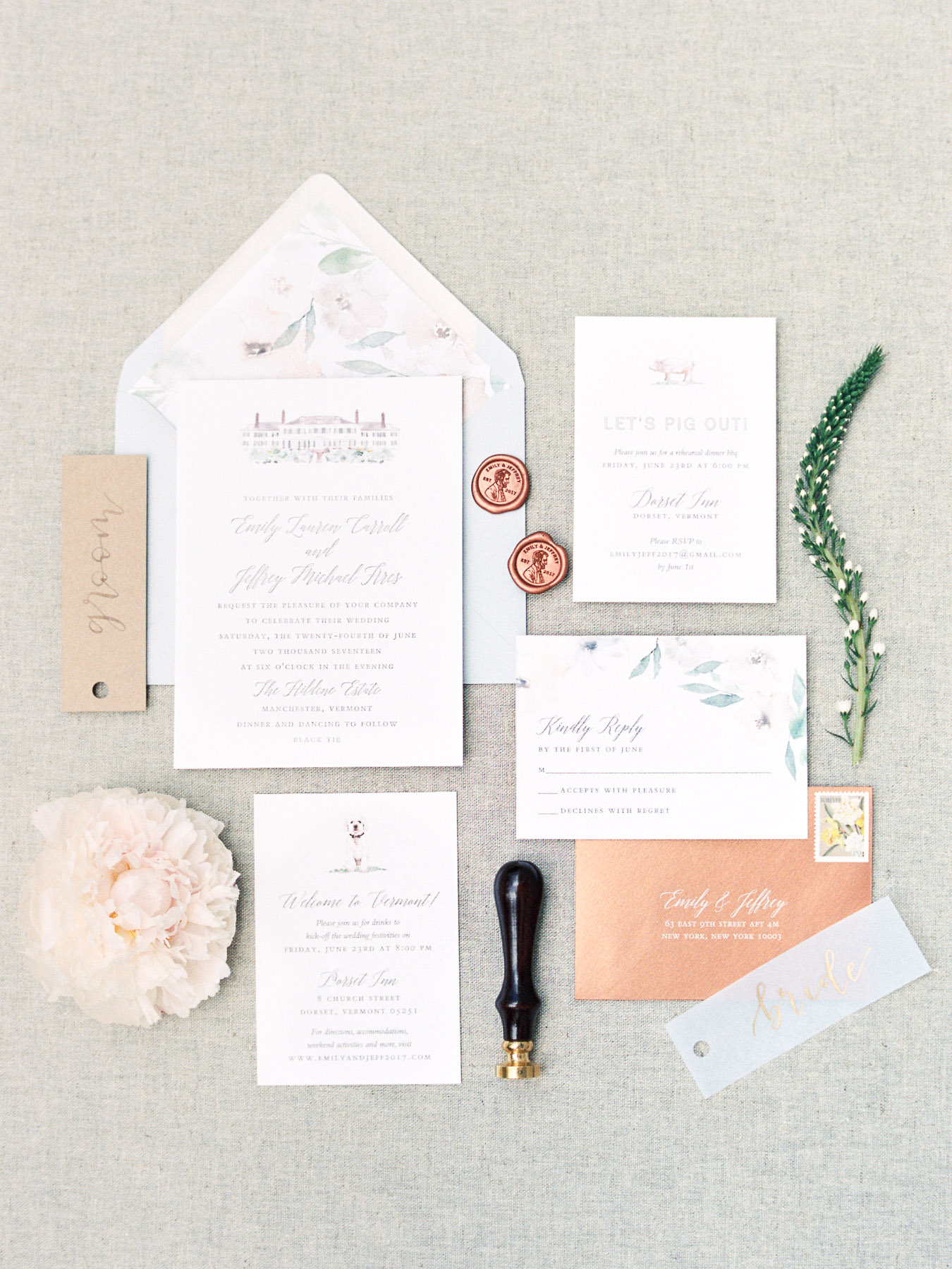 Wedding Invitation Styling in Vermont