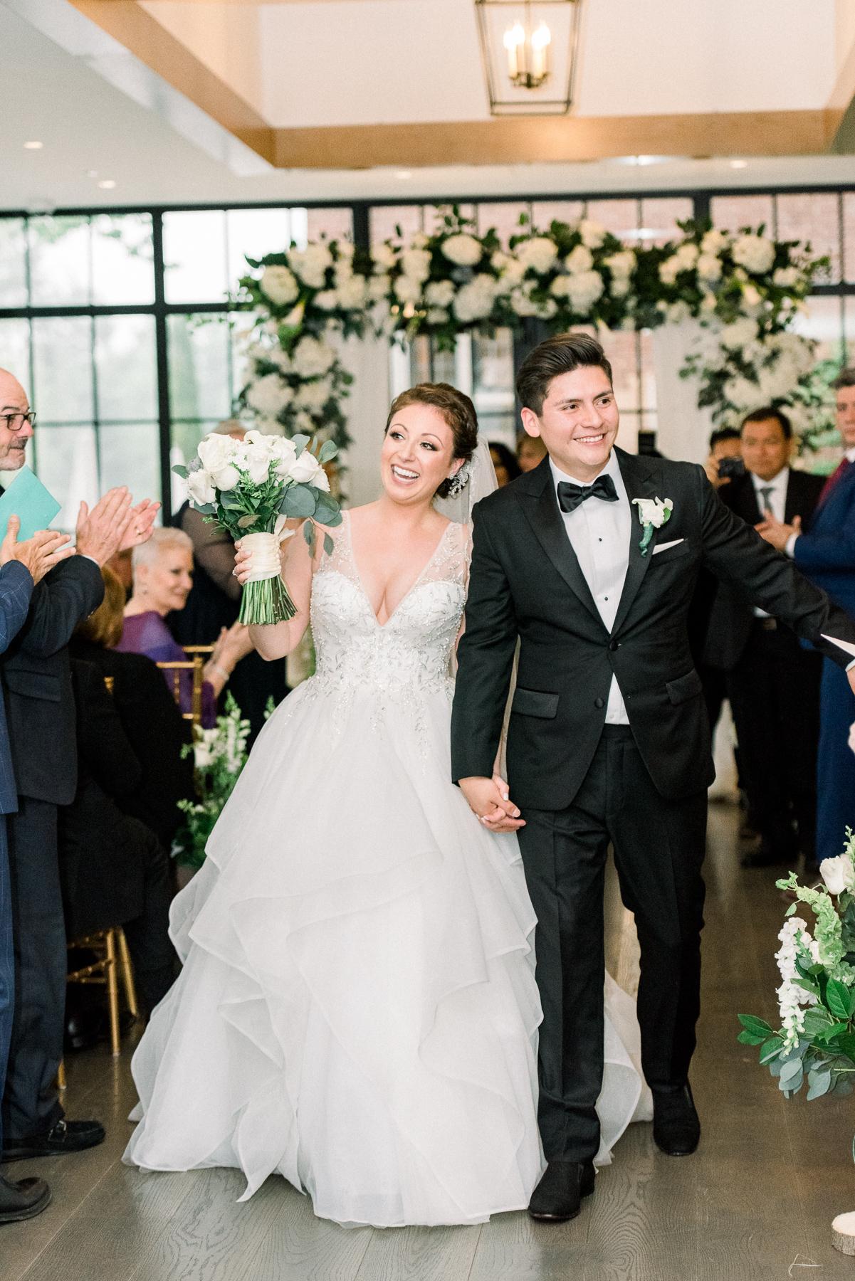 Just Married at Indoor Ceremony at Natirar Mansion