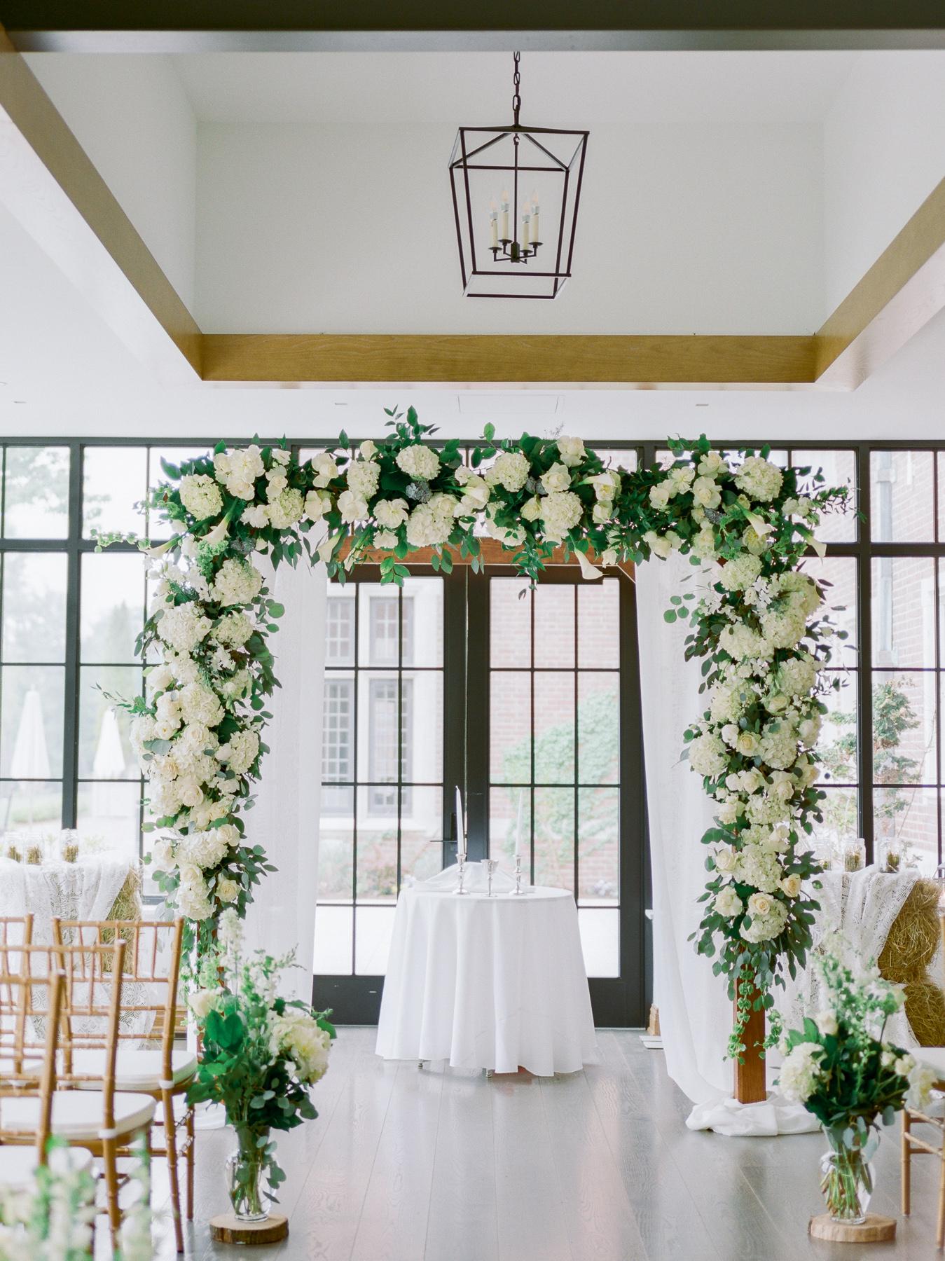 Indoor Ceremony at Natirar Mansion Wedding