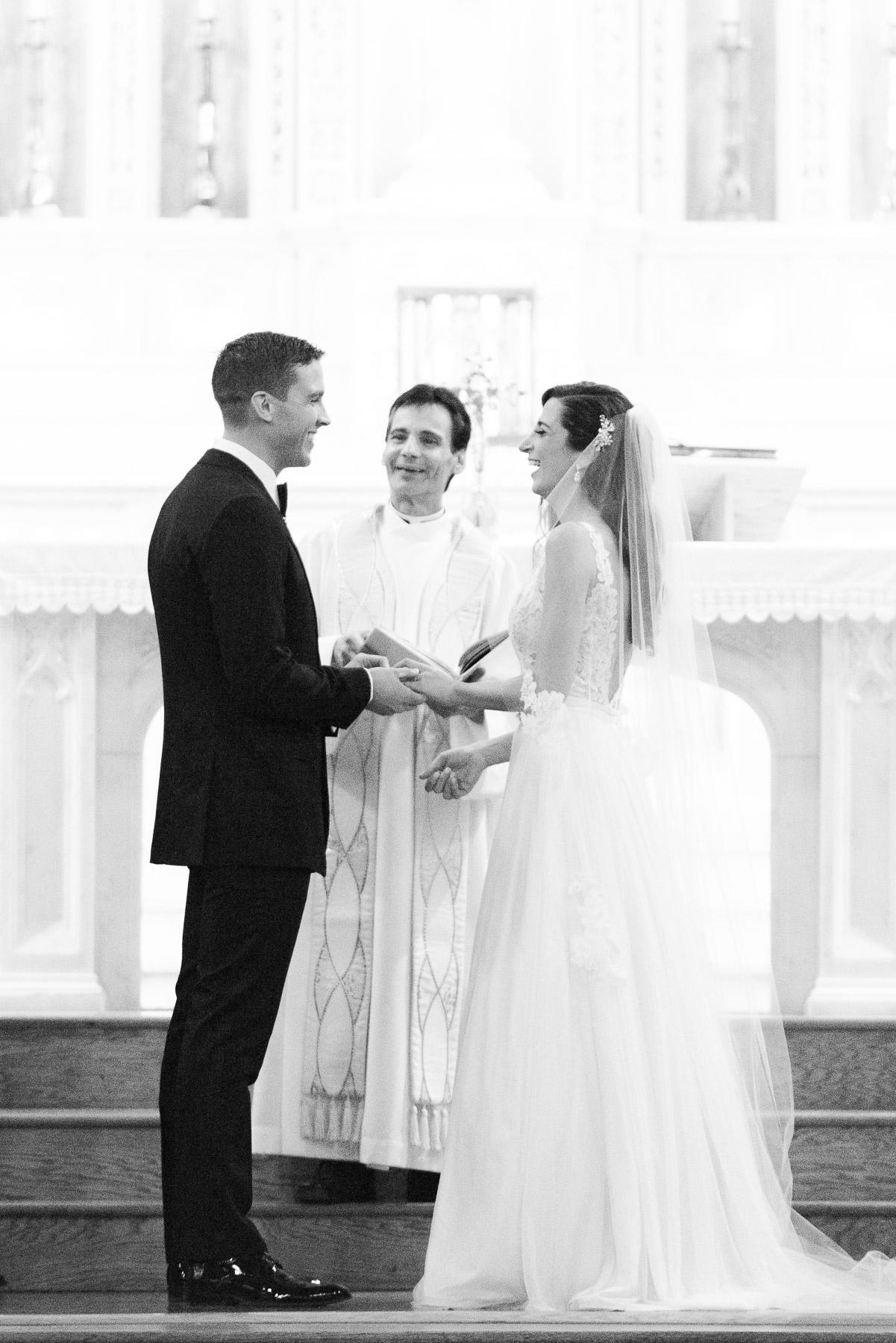 Black and White Wedding Church Ceremony Photo