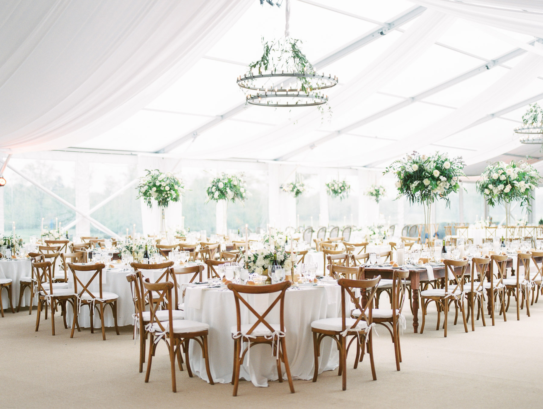 Saratoga National Golf Club Tented Wedding Reception by Renaissance Floral Design