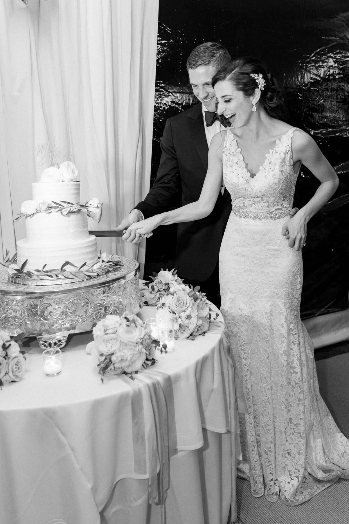 Black and White Cake Cutting Photo