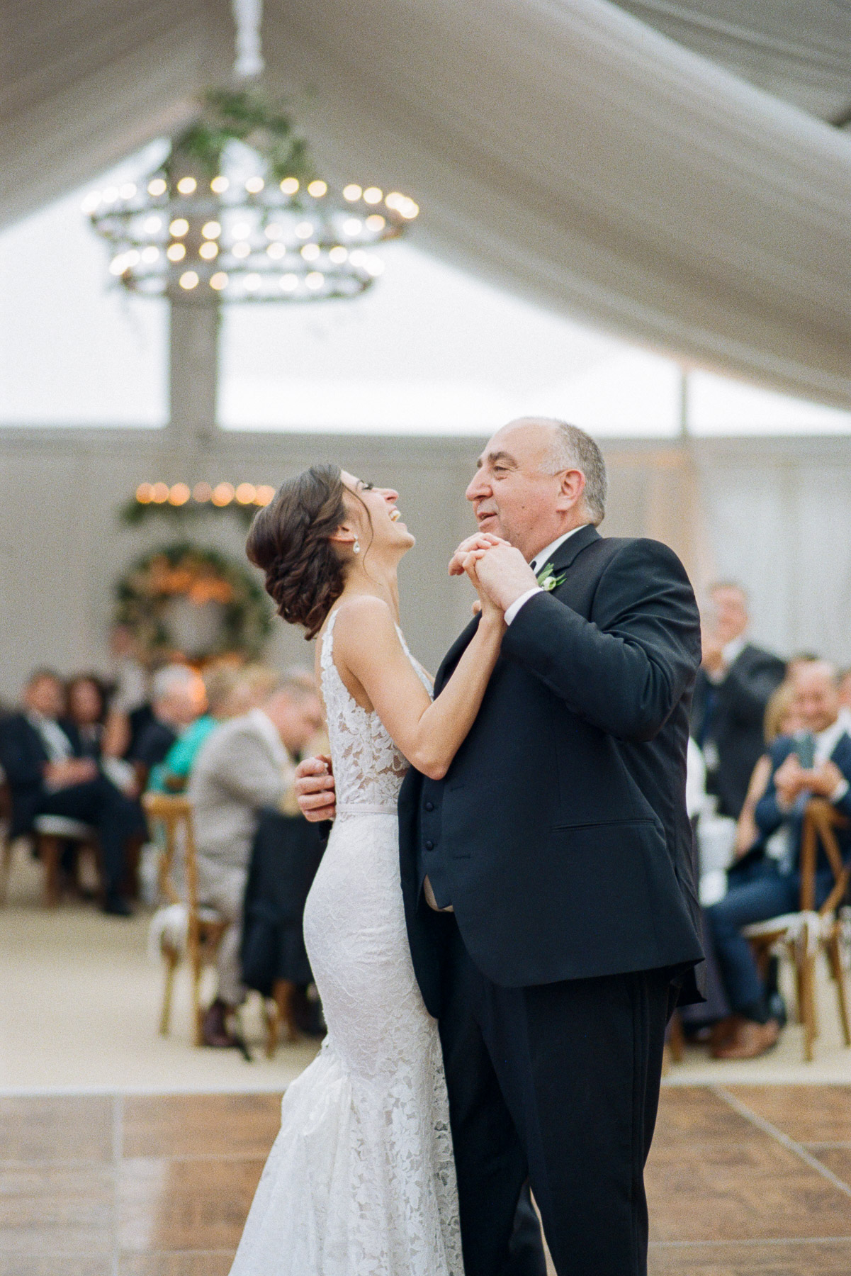 Laughter during Father of the Bride and Bride Dance