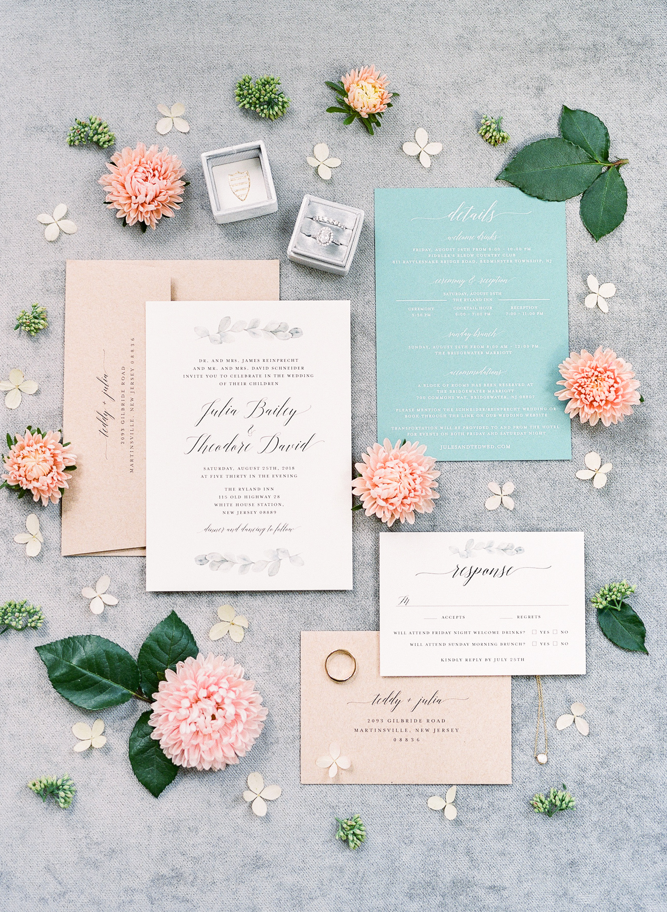 Blue Invitation Suite on Locust Collection Styling Board