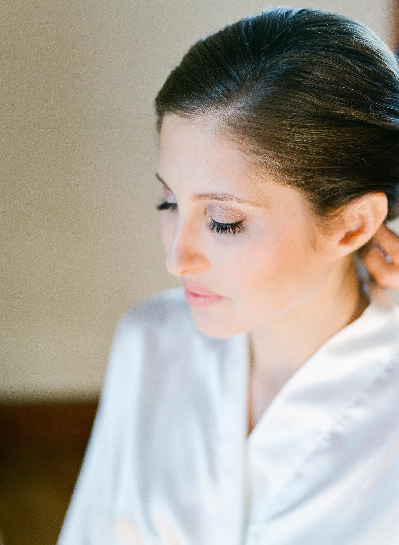 Close up of bridal makeup