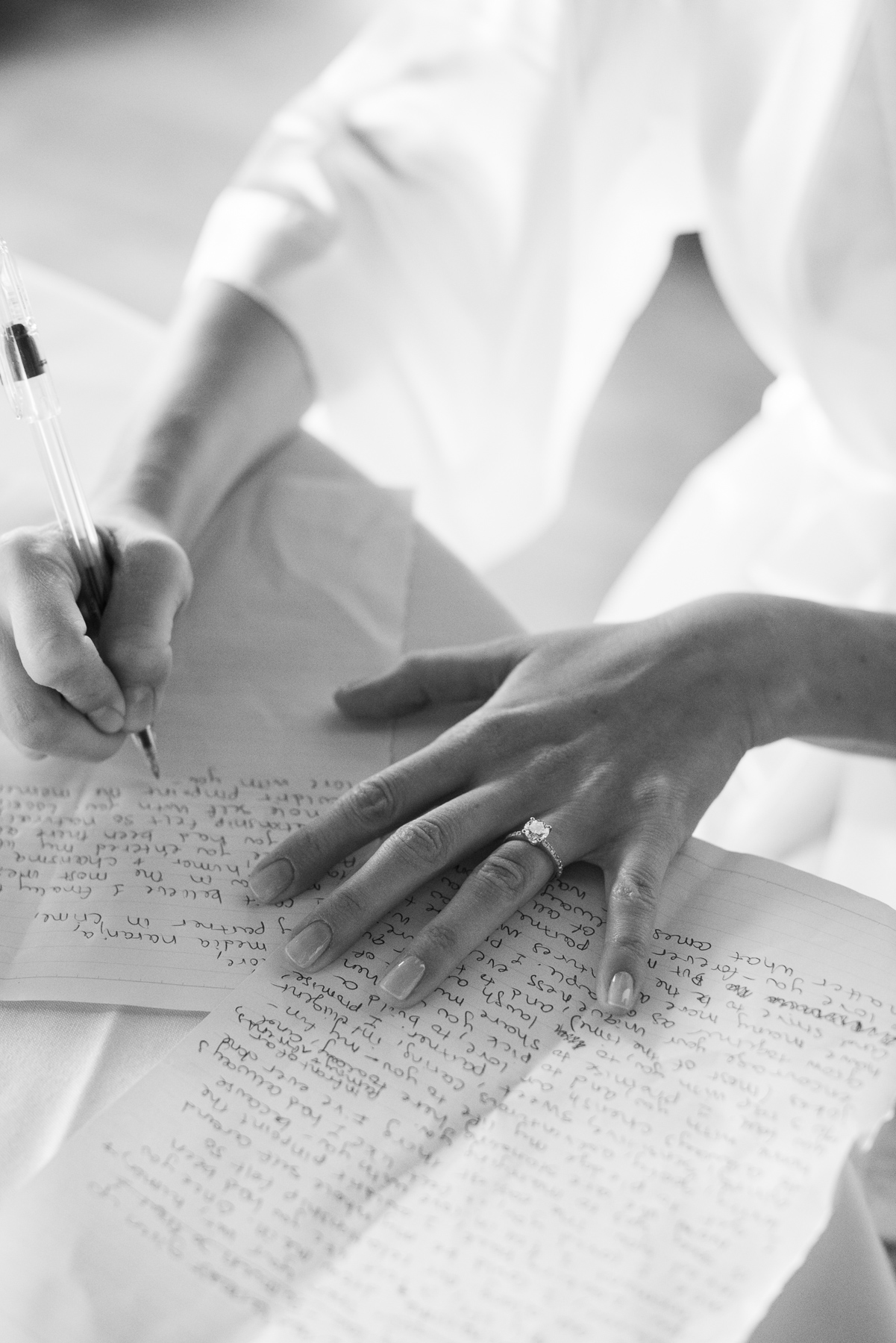 Bride writing letter to groom.