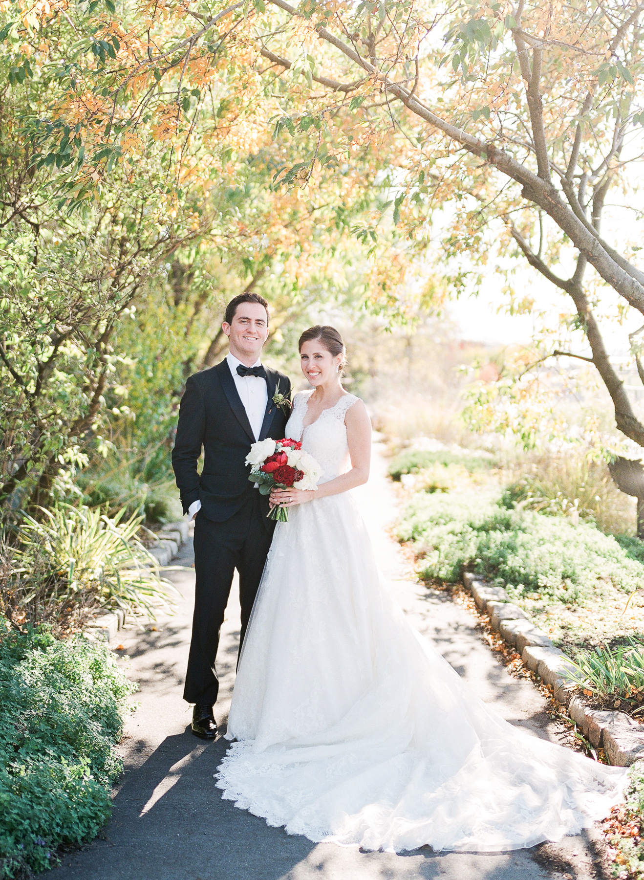 Bride and Groom in Liberty warehouse wedding in Brooklyn, NY documented by NY wedding film photographer, Michelle Lange Brooklyn New York
