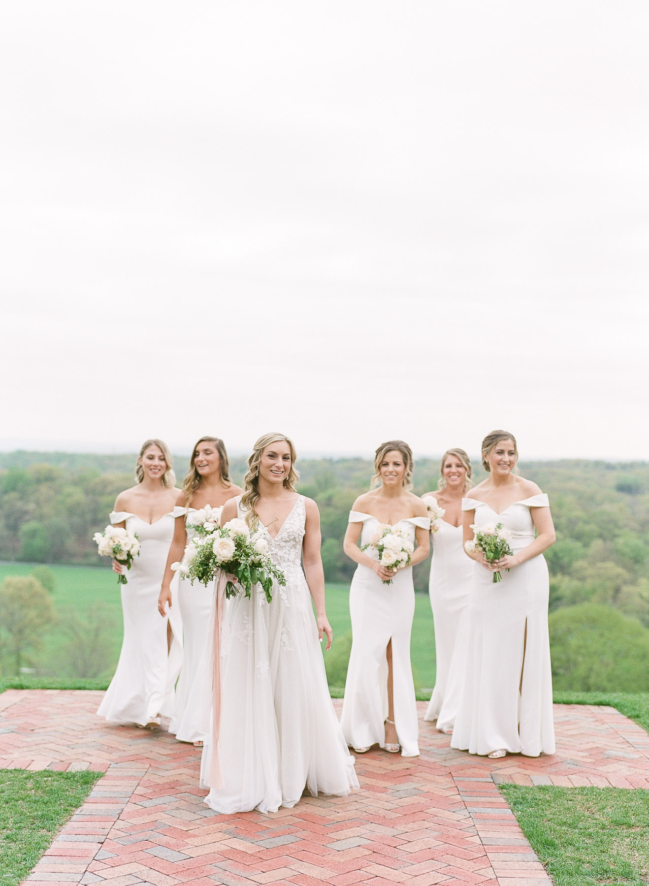 White bridesmaid dresses from Kleinfelds at NJ Wedding