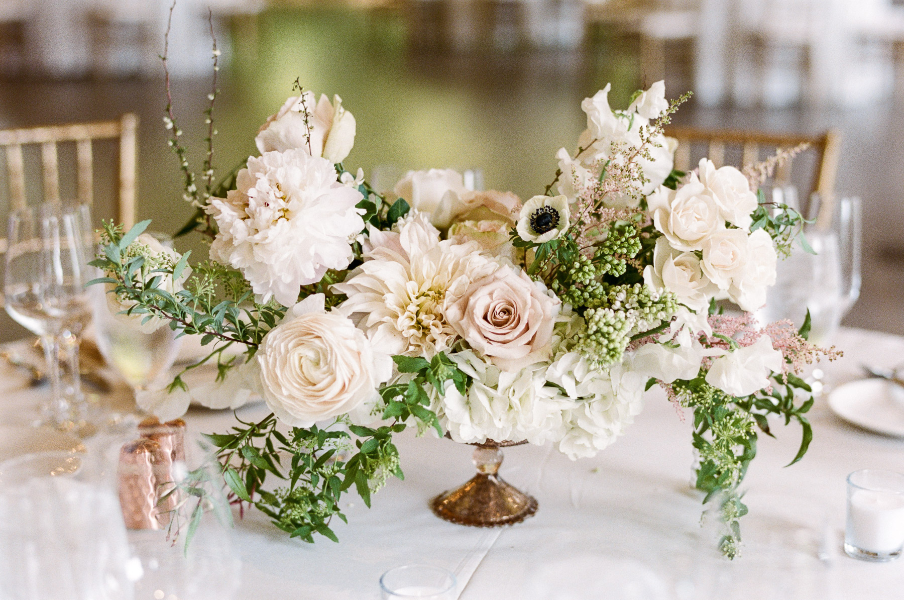Blush pink, white and green centerpiece by Twisted Willow flowers