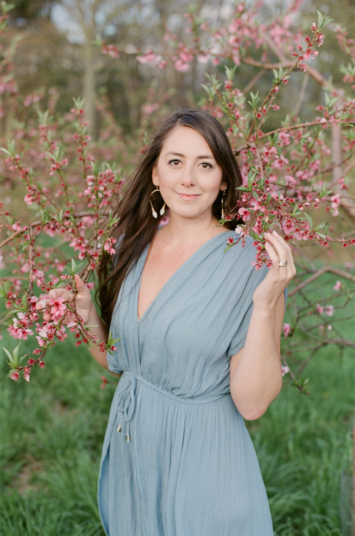 Mother Portrait with Peach Blossoms in NY