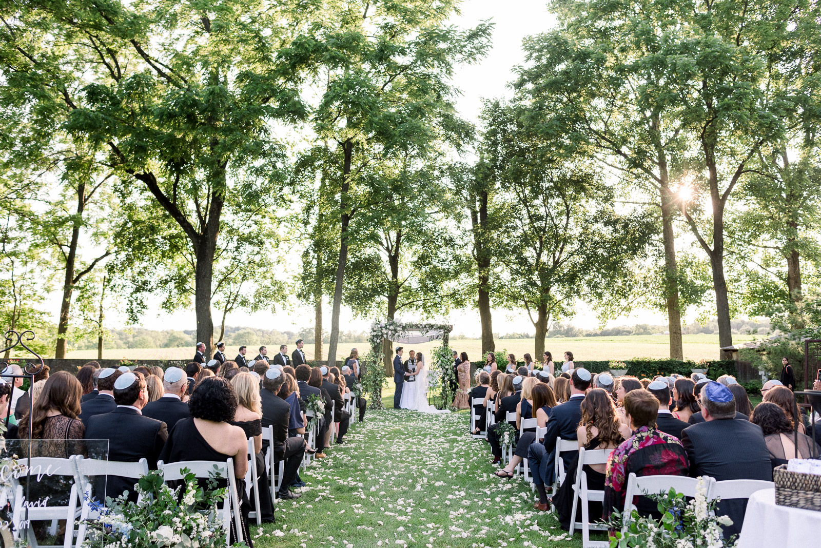 Outdoor ceremony at Hotel du Village wedding in New Hope PA