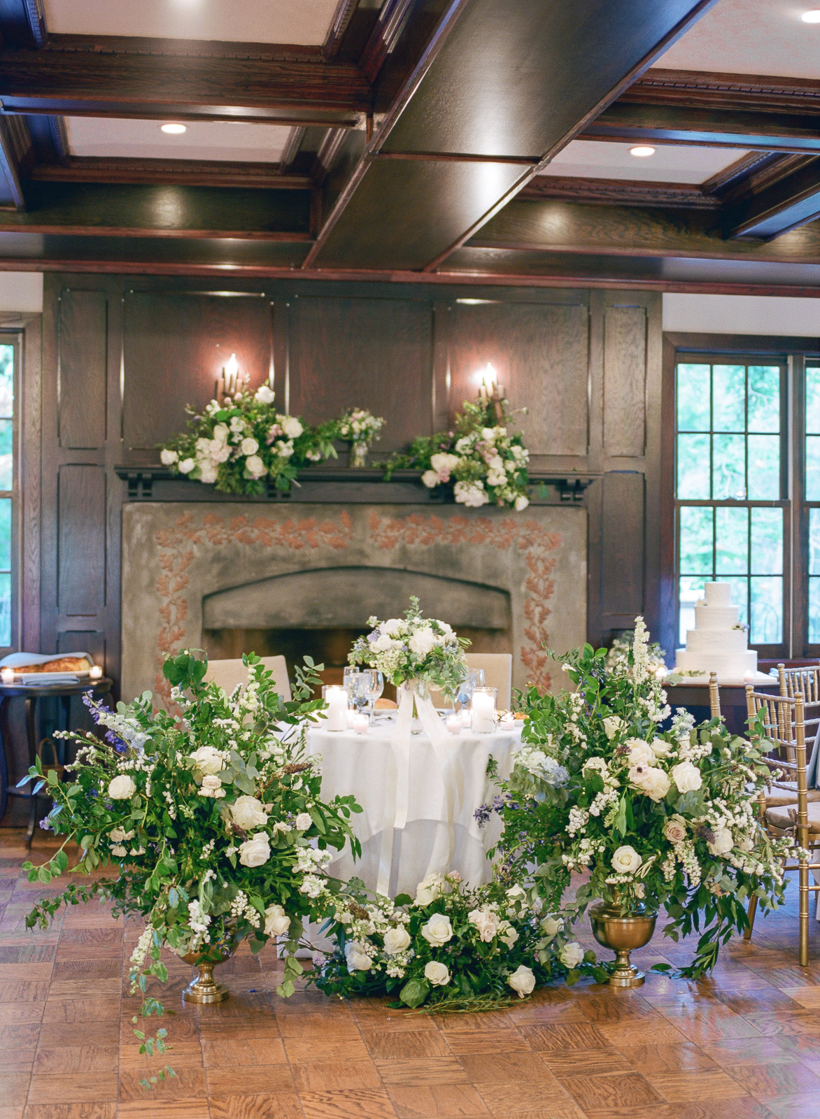 Fireplace floral design at Hotel du Village wedding in New Hope PA by Twisted Willow Flowers