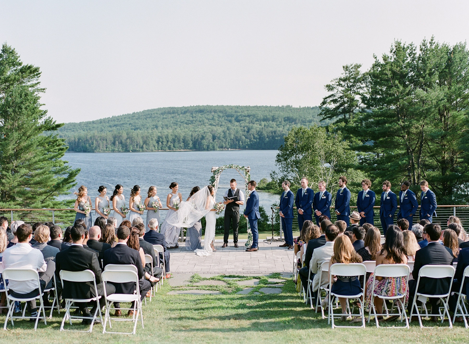 Ceremony Bear Mountain Inn Waterford Maine Wedding
