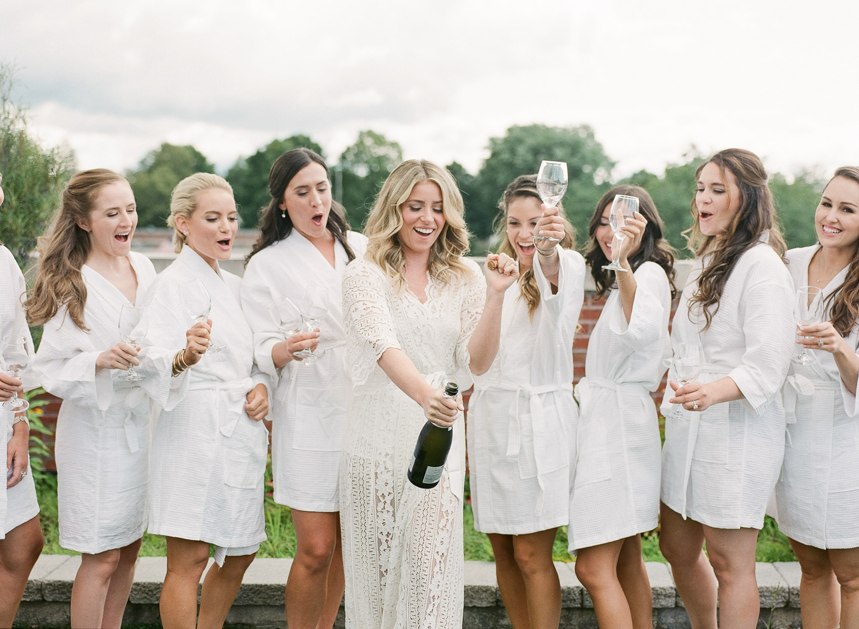 Champagne photo with Bridesmaids