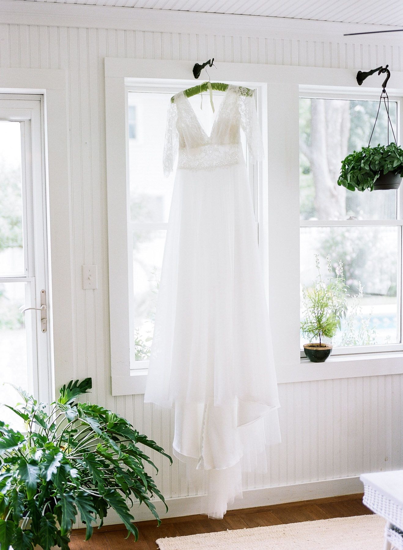 Wedding dress in home.