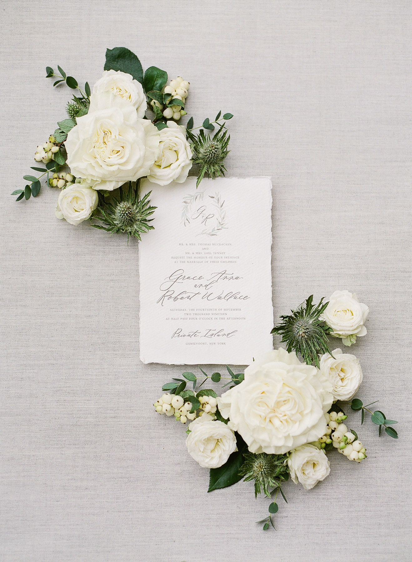 Sugared Fig Paperie Wedding Invitation on Locust Collection Styling Board